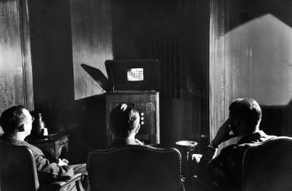 Radio Corporation of America (RCA) executives watch a brand new invention called television, their New York offices before introducing the product to the public, 1939.