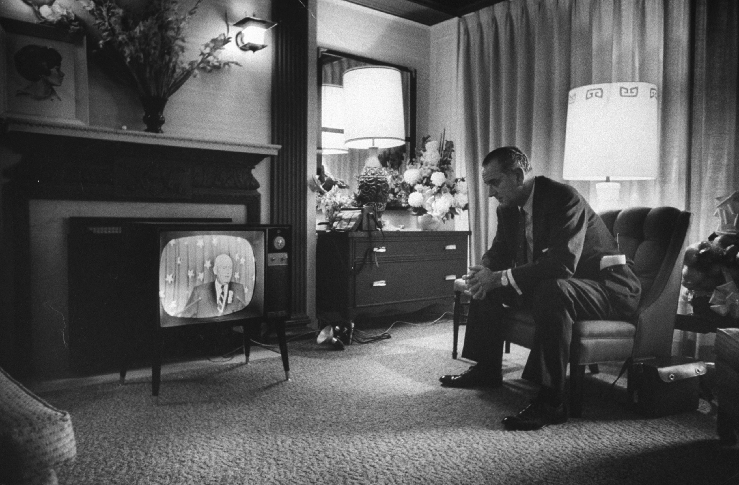 Eventual VP candidate Lyndon Johnson watches TV during the 1960 Democratic National Convention in Los Angeles.