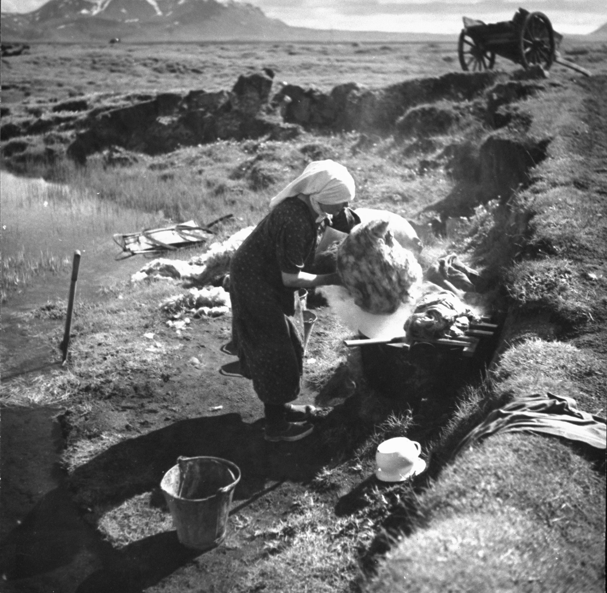 """<b>Caption from print:</b> """"Wool is handled in the traditional primitive way. Here we see a farmer woman boiling the wool in a large pot, after which it will be carefully rinsed in the clear water of the brook."""""""