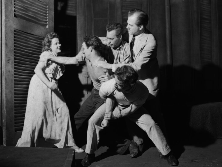 Kim Hunter (left), Marlon Brando, Karl Malden and others in rehearsal for the original production of A Streetcar Named Desire.