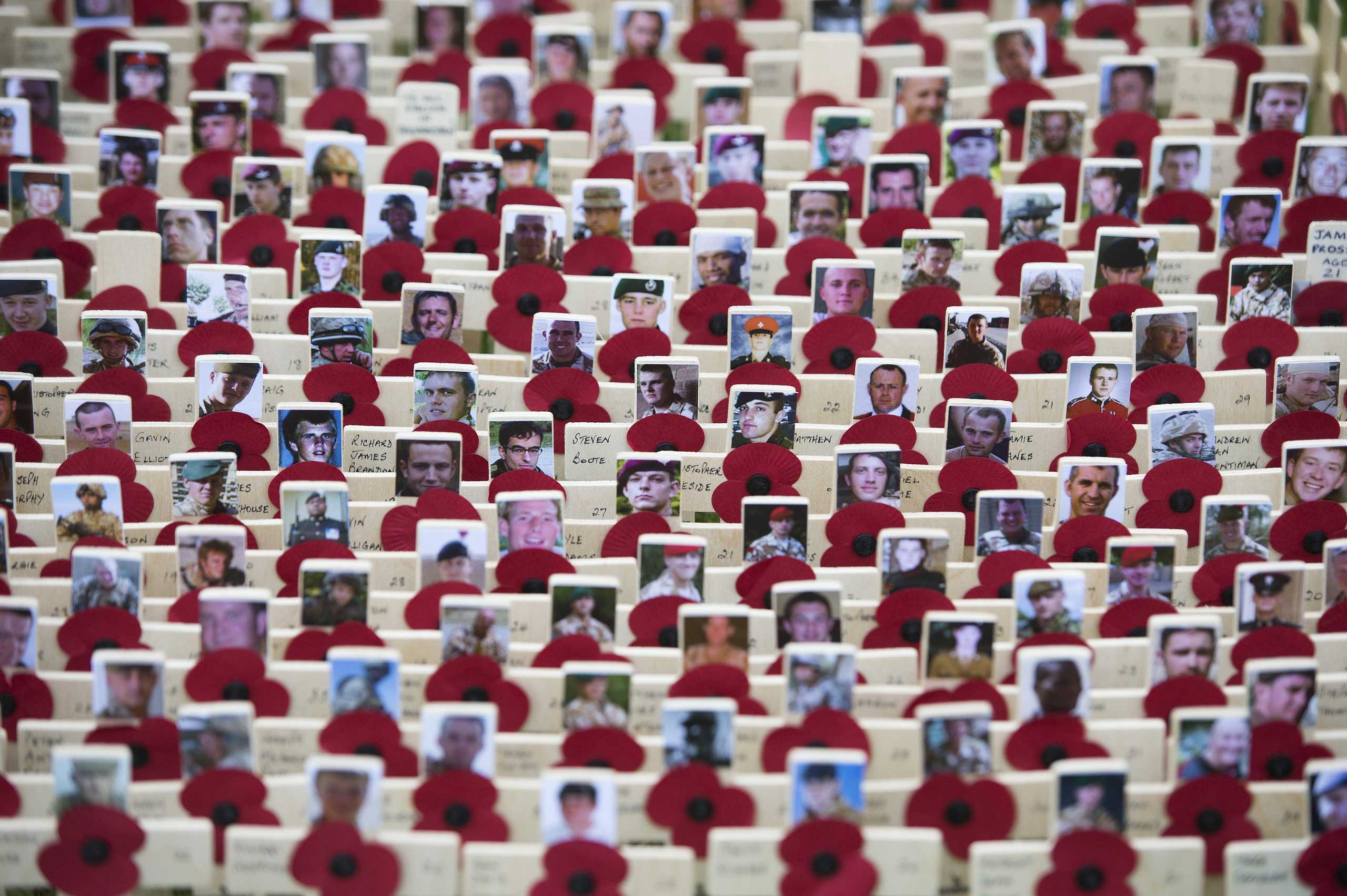 Nov. 6, 2014. Photographs of servicemen who lost their lives in Afghanistan are placed on crosses at the Field of Remembrance at Westminster Abbey, London.