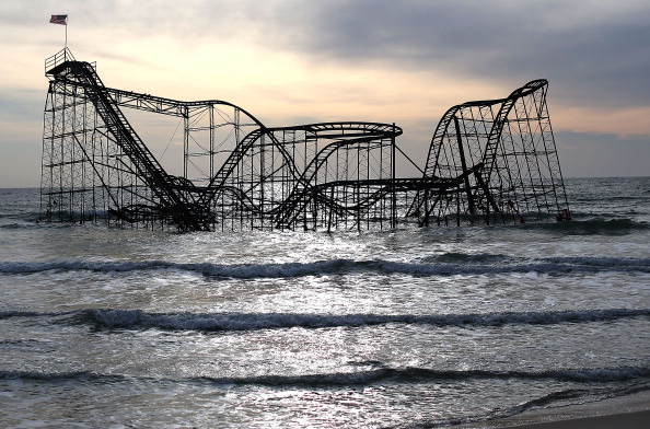 SEASIDE HEIGHTS, NJ - FEBRUARY 19: The Star Jet roller coaster remains in the water after the Casion Pier it sat on collapsed from the forces of Superstorm Sandy, February 19, 2013 in Seaside Heights, New Jersey. Governor Chris Christie has estimated that damage in New Jersey caused by Superstorm Sandy could reach $37 billion.  (Photo by Mark Wilson/Getty Images)