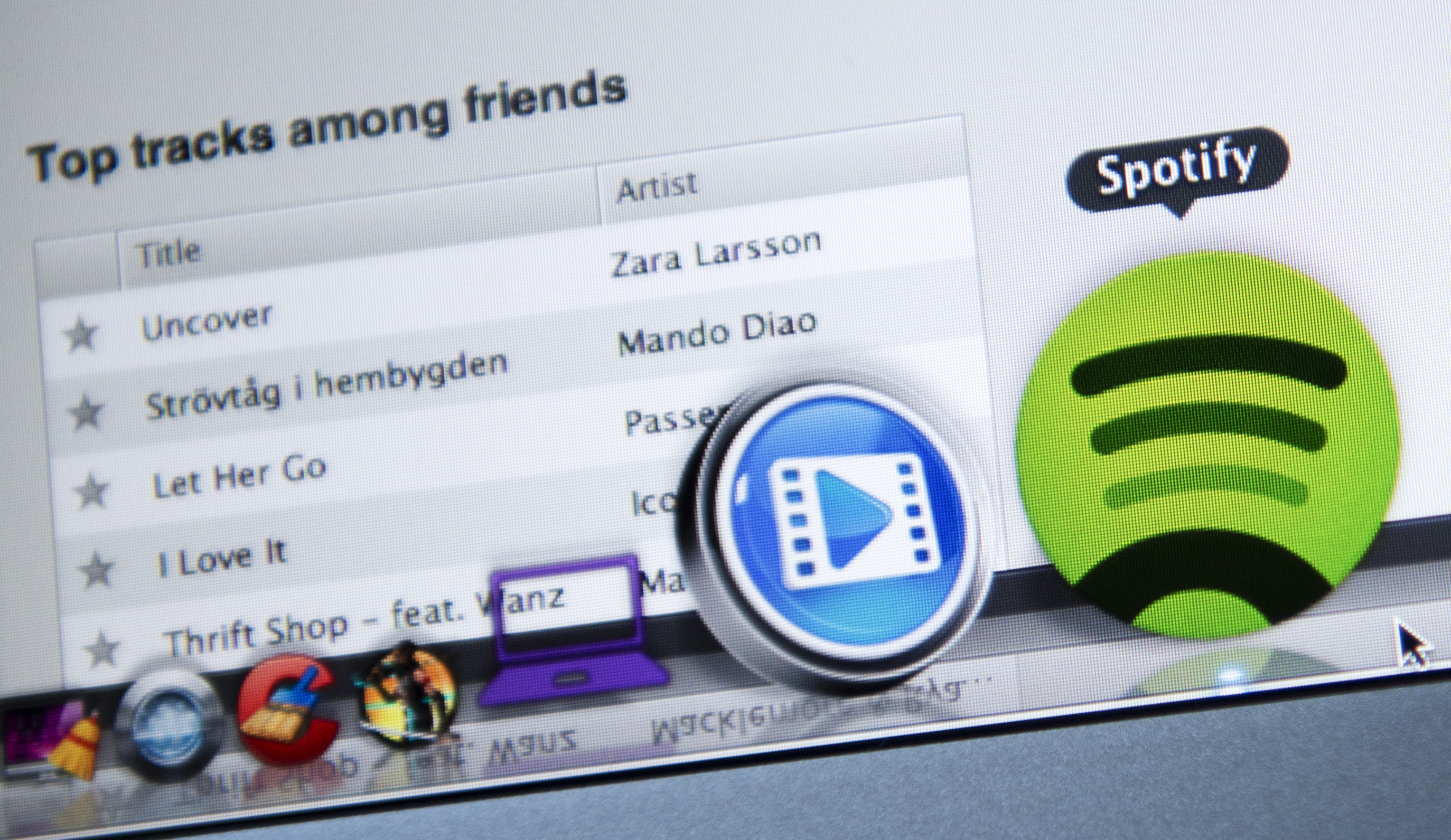 This photo illustration shows the Swedish music streaming service Spotify on March 7, 2013 in Stockholm, Sweden.
