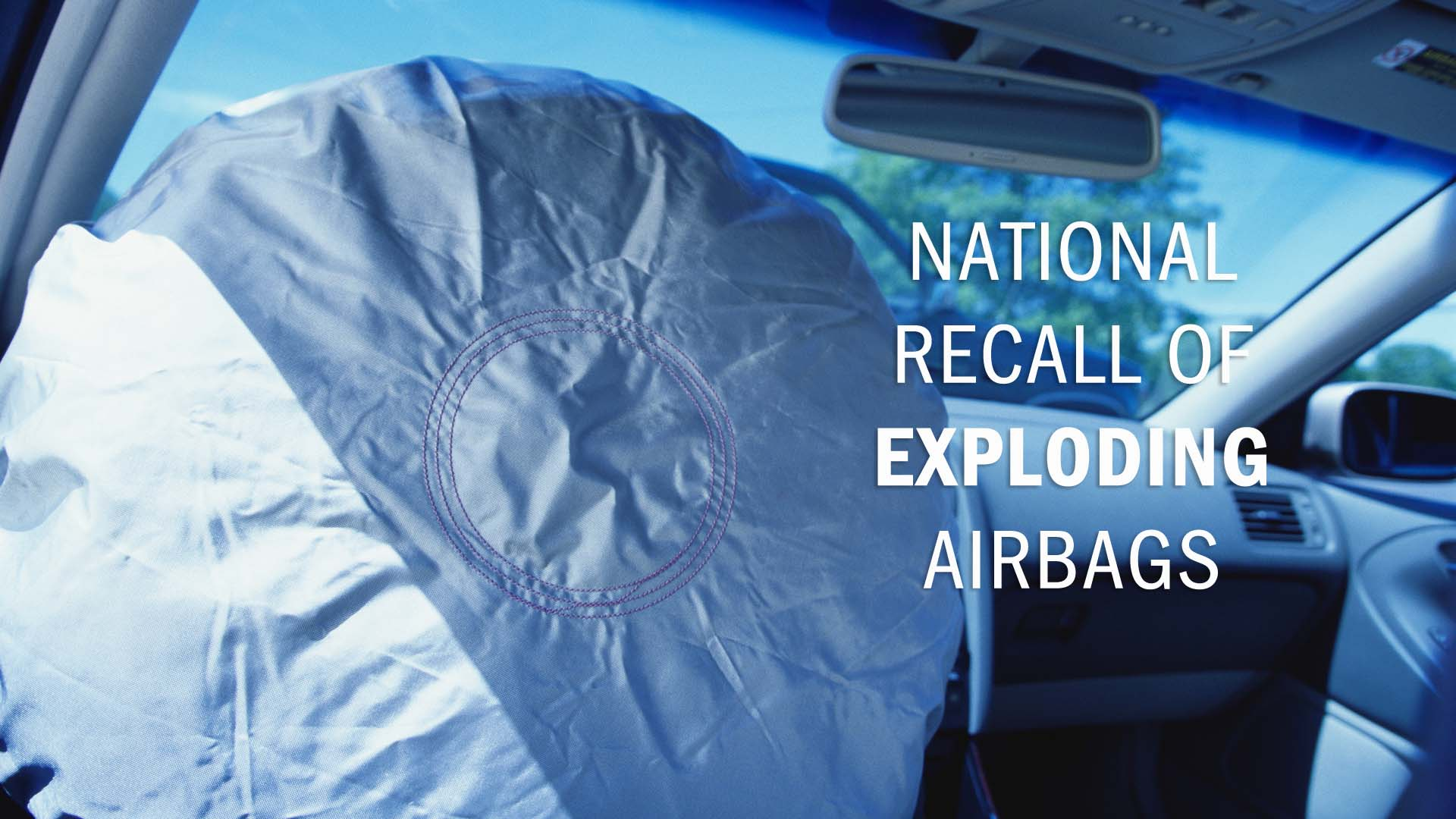 Inflated airbag in car
