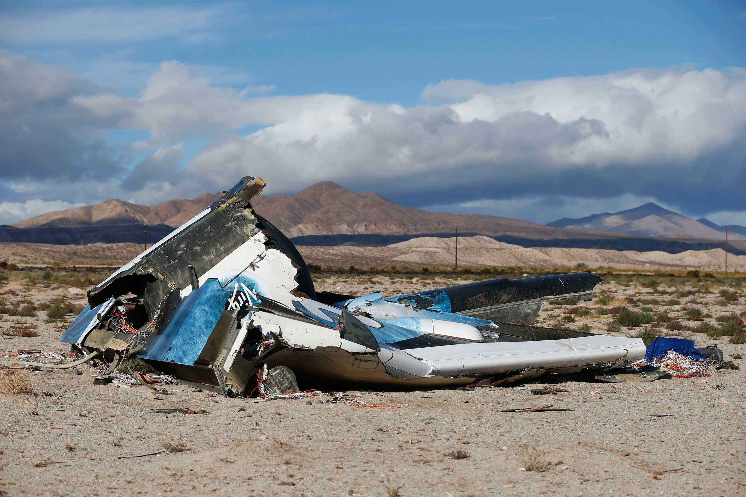 Nov. 1, 2014. A piece of debris is seen near the crash site of Virgin Galactic's SpaceShipTwo near Cantil, Calif. Virgin Galactic founder Richard Branson said on Saturday he was working with U.S. authorities to determine what caused a passenger spaceship being developed by his space tourism company to crash in California, killing one pilot and injuring the other.