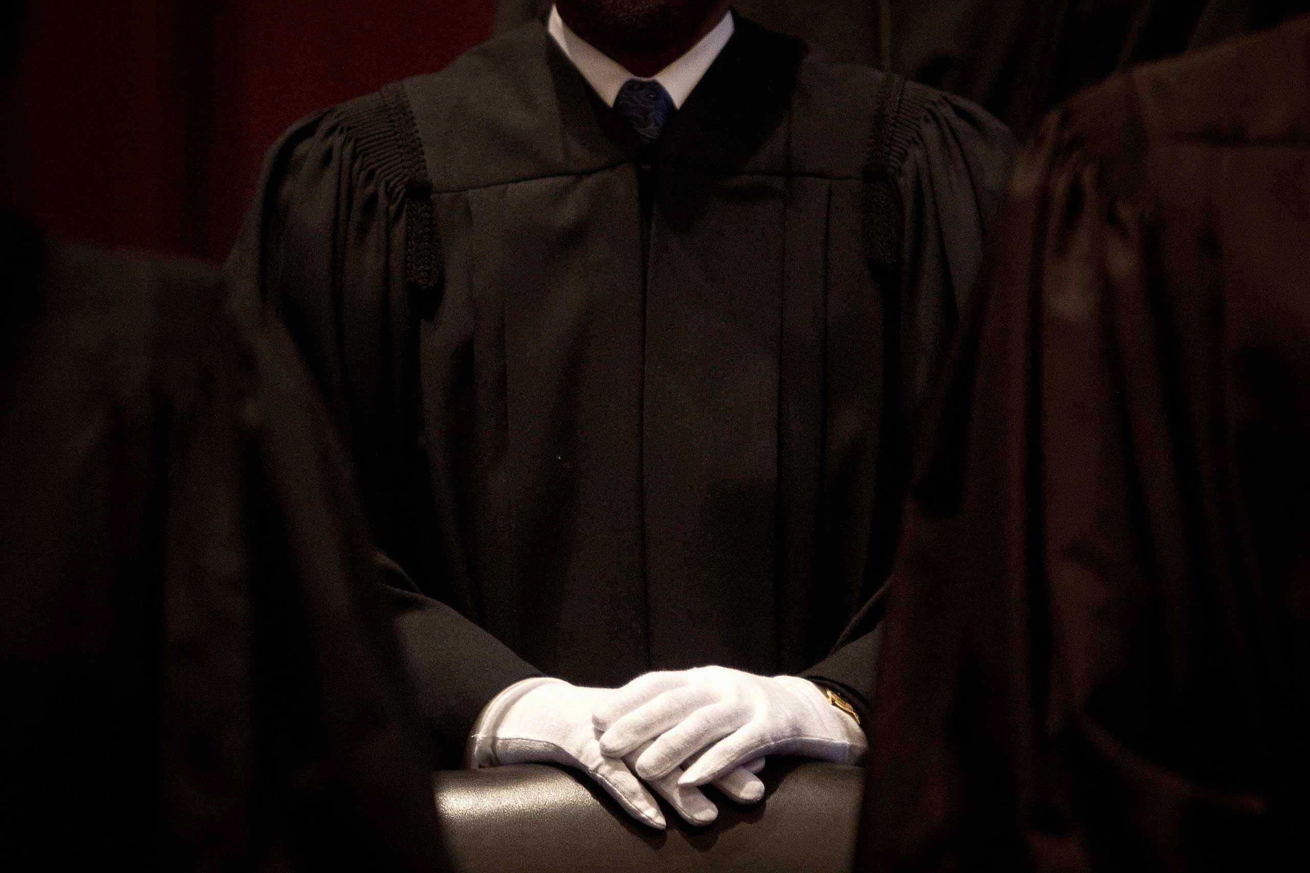 Nov. 4, 2014. A judge wearing white gloves stands before a special session of the U.S. District Court for the Southern District of New York on the occasion of the 225th anniversary of the first session of the court.