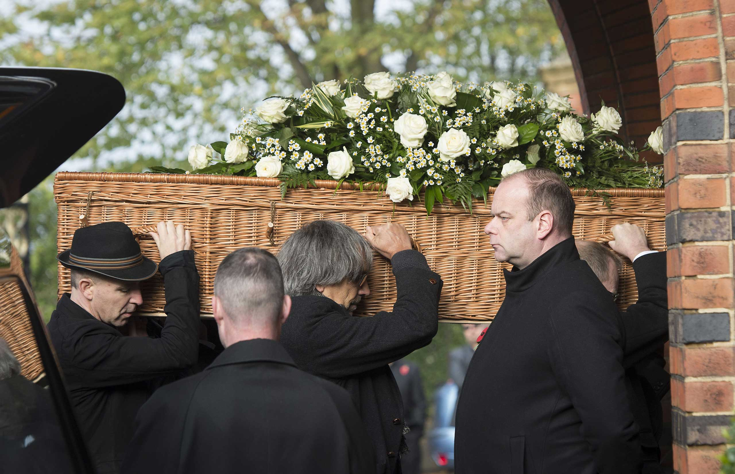 Nov. 5, 2014. The body of the late rock musician Jack Bruce, lead singer and bassist of the band Cream, is carried into the Golders Green Crematorium in London.