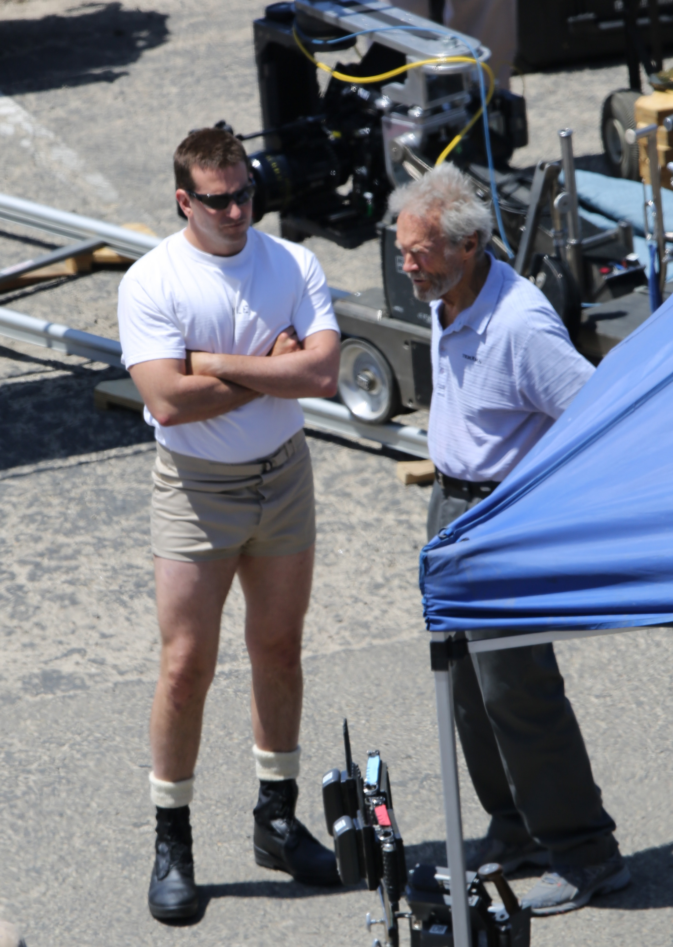 Bradley Cooper and Clint Eastwood on the set of 'American Sniper' in Malibu, California on June 4, 2014 in Los Angeles.