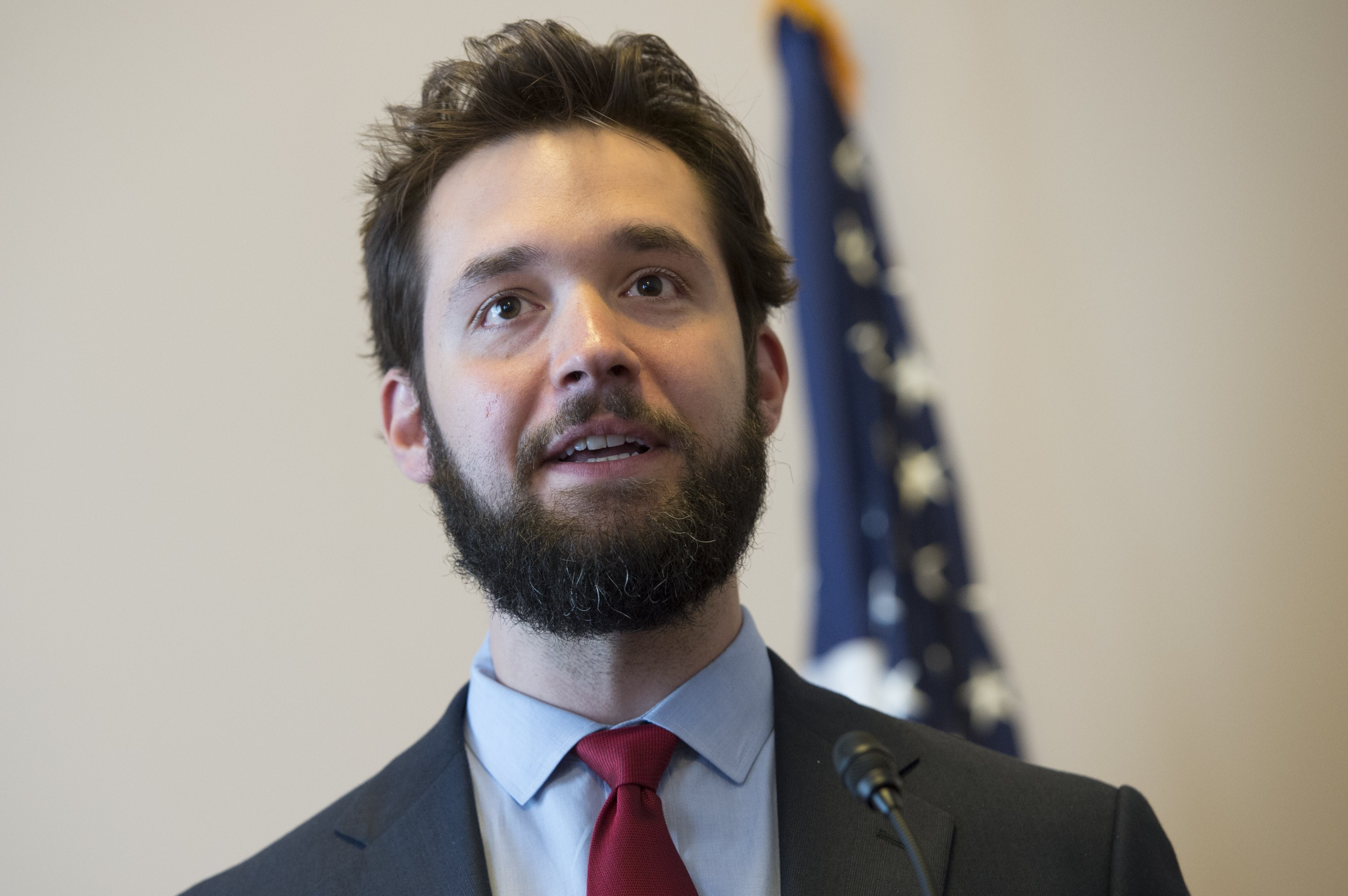 Alexis Ohanian, investor and founder of Reddit, speaks about net neutrality for the Internet during a discussion hosted by the Free Press Action Fund on Capitol Hill in Washington on July 8, 2014.