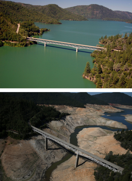OROVILLE, CA - JULY 20:  In this before-and-after composite image, (Top) The Enterprise Bridge passes over full water levels at a section of Lake Oroville on July 20, 2011 in Oroville, California. (Photo by Paul Hames/California Department of Water Resources via Getty Images) OROVILLE, CA - AUGUST 19:  (Bottom) The Enterprise Bridge passes over a section of Lake Oroville that is nearly dry on August 19, 2014 in Oroville, California. As the severe drought in California continues for a third straight year, water levels in the State's lakes and reservoirs is reaching historic lows. Lake Oroville is currently at 32 percent of its total 3,537,577 acre feet.  (Photo by Justin Sullivan/Getty Images)