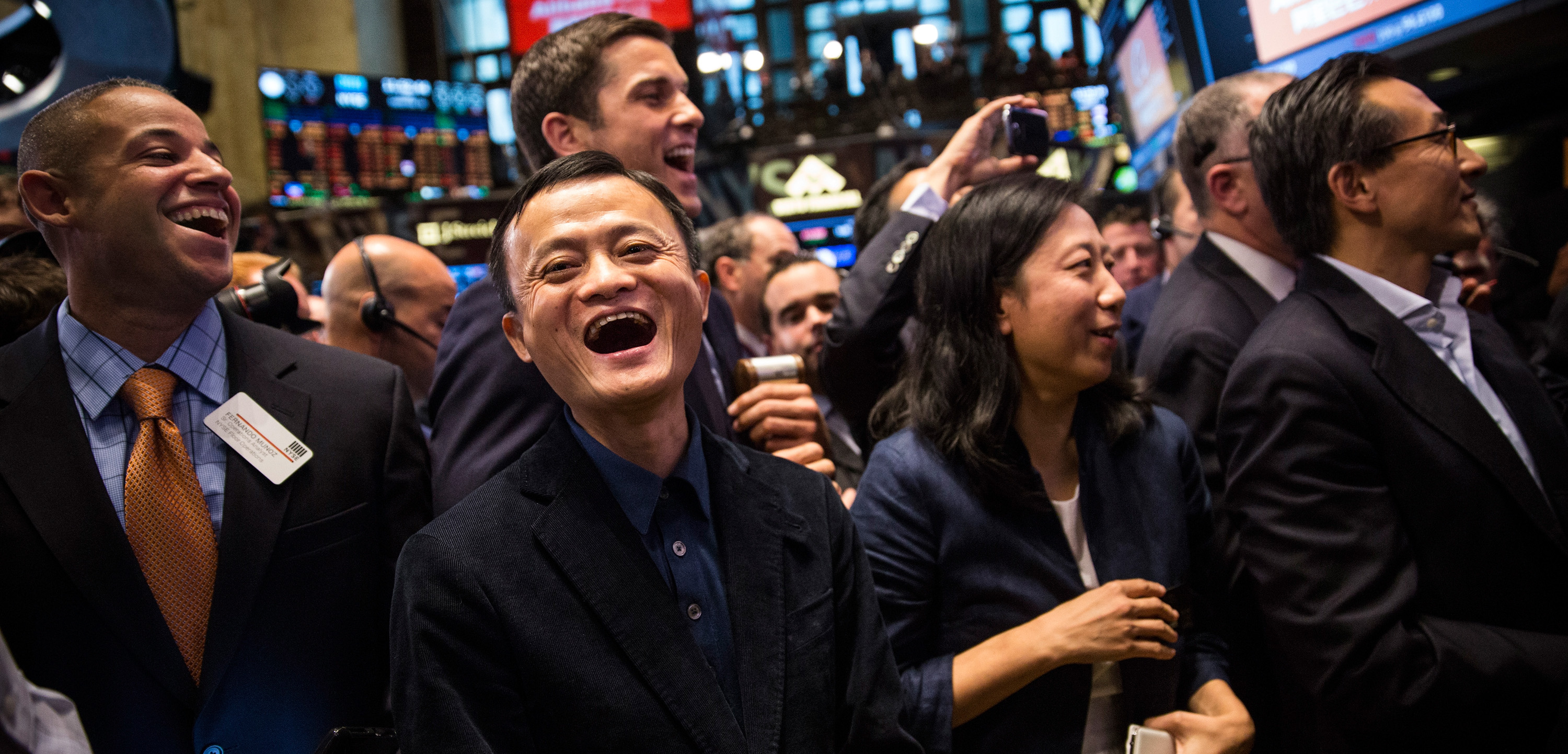Founder and Executive Chairman of Alibaba Group Jack Ma (L) attends the company's initial price offering (IPO) at the New York Stock Exchange on September 19, 2014 in New York City.