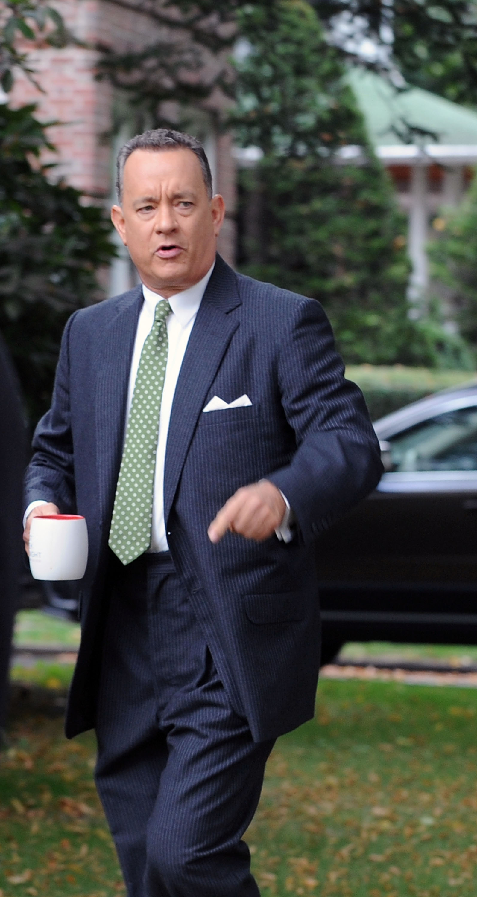 Actor Tom Hanks on location for  St. James Place  on October 2, 2014 in New York City.  (Bobby Bank--GC Images)