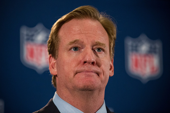 NFL commissioner Roger Goodell holds a press conference in New York City on Oct. 8, 2014