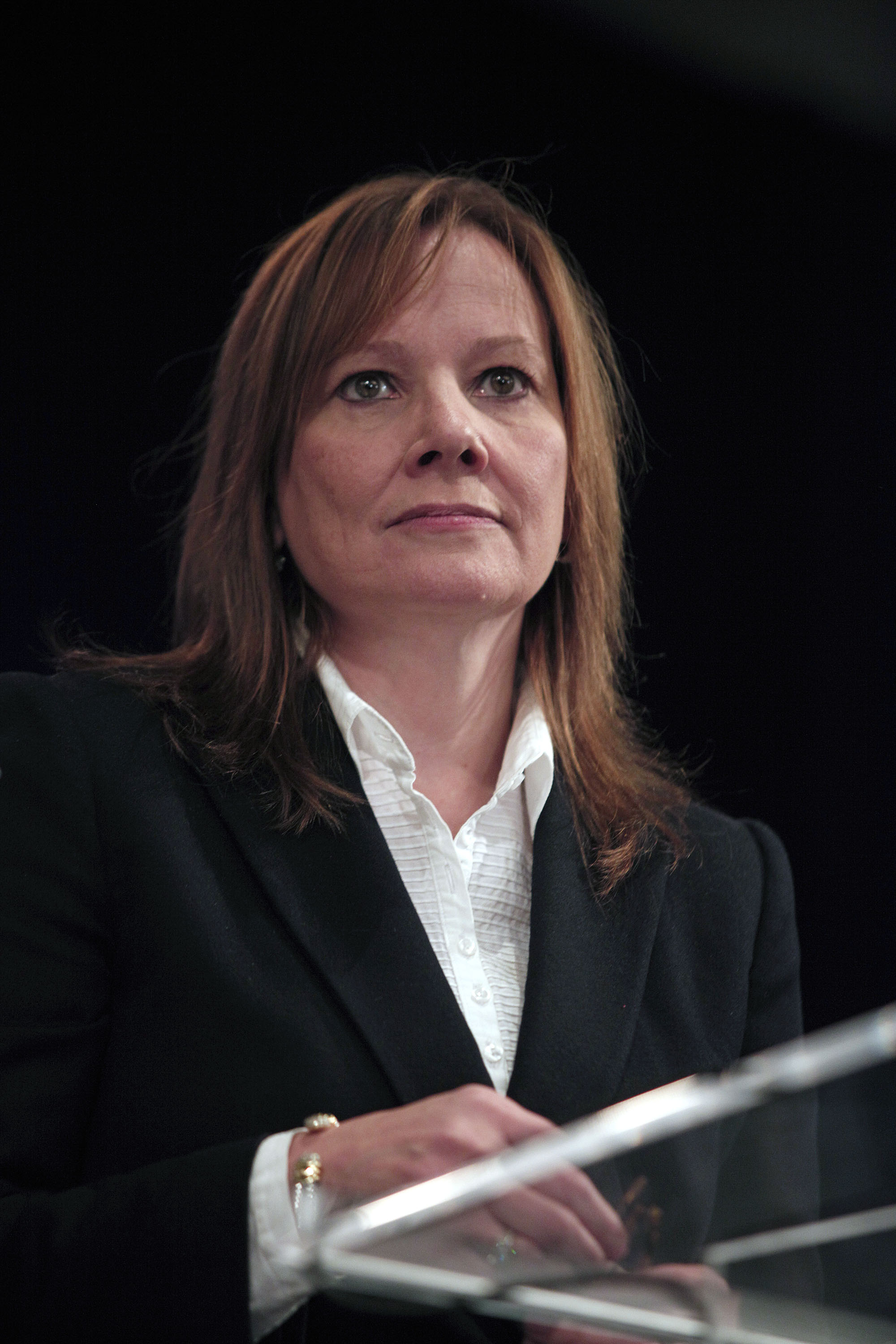 General Motors Chief Executive Officer Mary Barra address the Detroit Economic Club October 28, 2014 in Detroit, Michigan. Barra announced that GM will be investing $540 million in its plants in Michigan. $240 million of that will be invested in the company's Warren Transmission Plant, allowing them to produce the transmissions for the next-generation Chevrolet Volt in Michigan, as opposed to in Mexico.