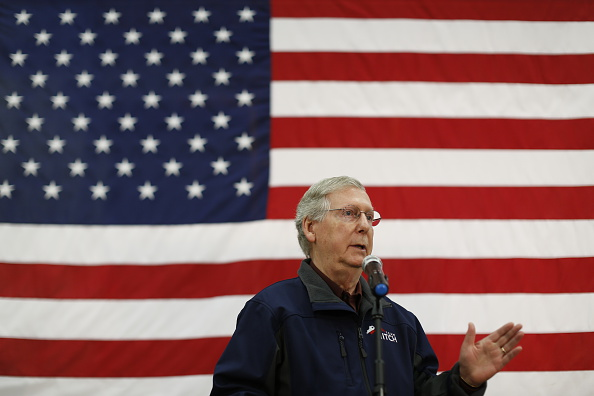 Senate Minority Leader Mitch McConnell delivers a stump speech during a campaign stop at Brandeis Machinery & Supply Company in Louisville on Oct. 31, 2014