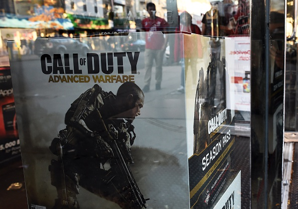 Boxes advertising the newest installment to blockbuster video game Call of Duty is displayed in a gamestop store in New York City on Nov. 3, 2014