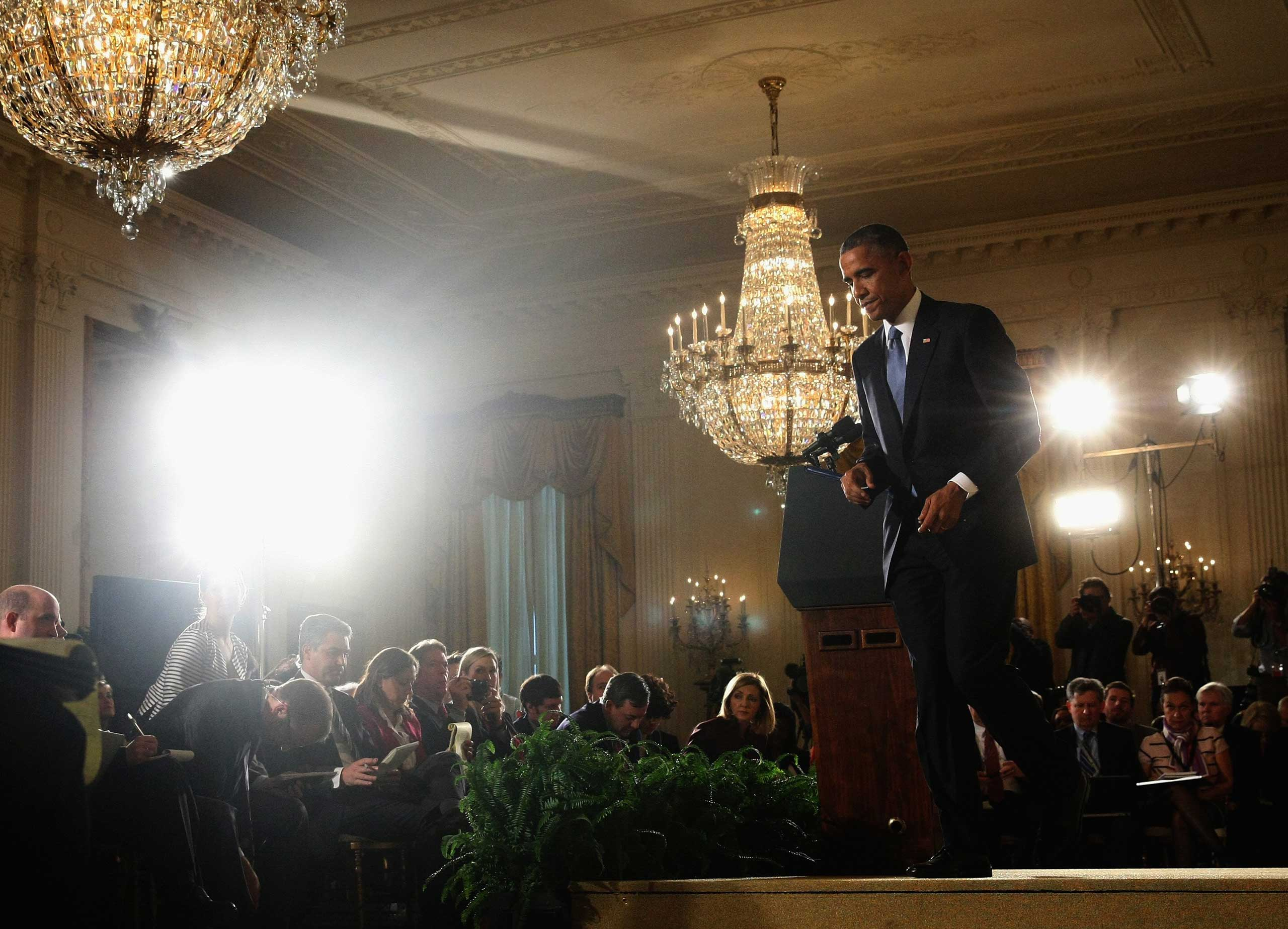 Nov. 5, 2014. President Barack Obama walks away after speaking to the media during a news conference in the East Room at the White House a day after Democrats lost the U.S. Senate Majority. Republicans won the majority of the U.S. Senate for the first time in eight years after Americans went to the polls and voted in the mid-term elections.