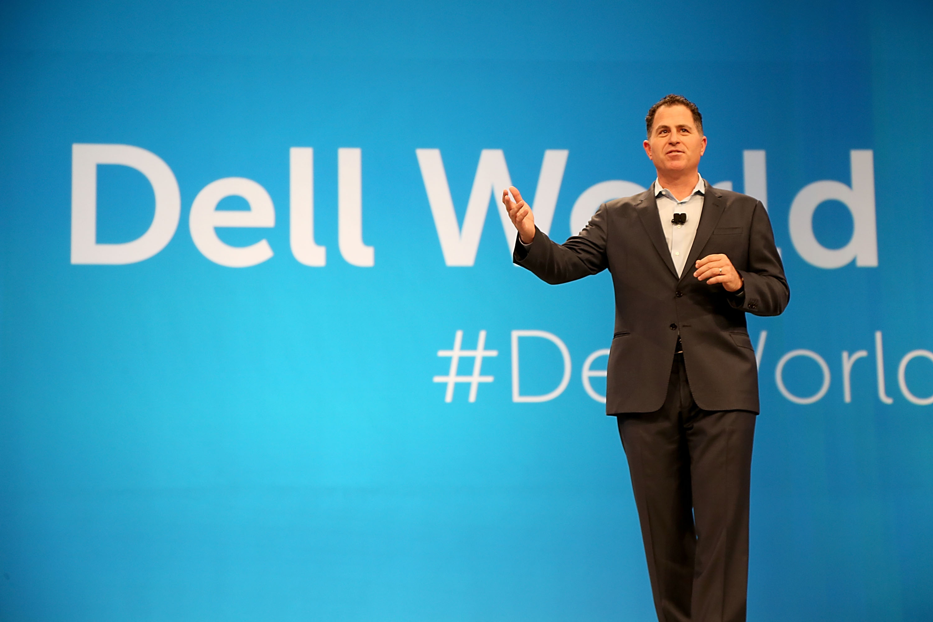 Michael Dell gives the keynote address to Dell employees to kick off Dell World 2014 at the Austin Convention Center on November 5, 2014 in Austin, Texas.