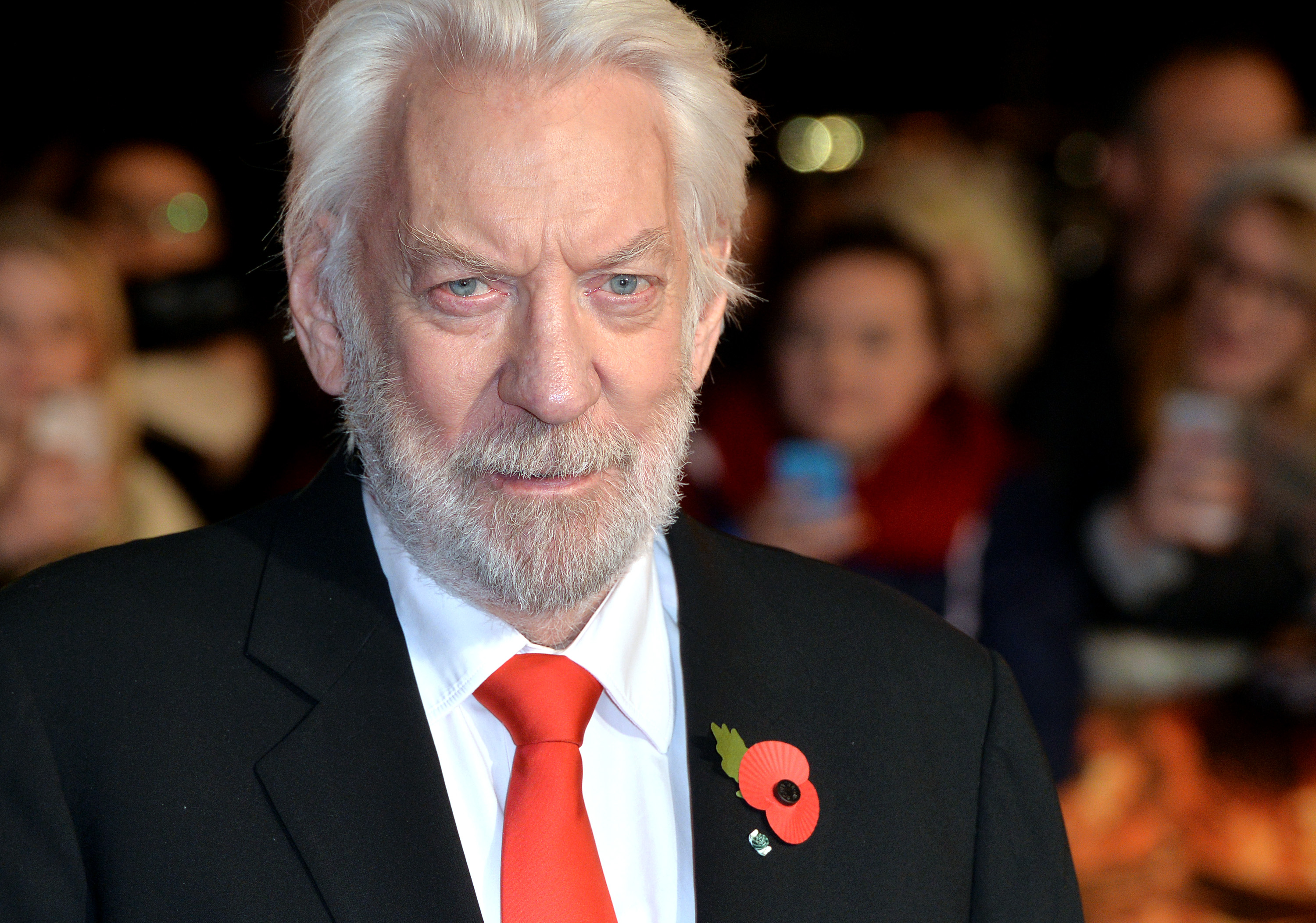 Donald Sutherland attends the world Ppremiere of  The Hunger Games: Mockingjay Part 1  at Odeon Leicester Square on November 10, 2014 in London, England.