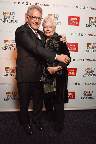 Dustin Hoffman and Judi Dench attend Roald Dahl's Esio Trot VIP red-carpet screening on Nov. 12, 2014, in London