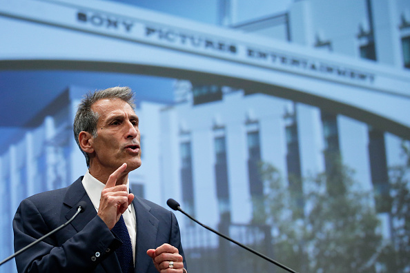 Michael Lynton, chief executive officer of Sony Pictures Entertainment Inc., gestures as he speaks during a news conference in Tokyo, Japan, on Tuesday, Nov. 18, 2014