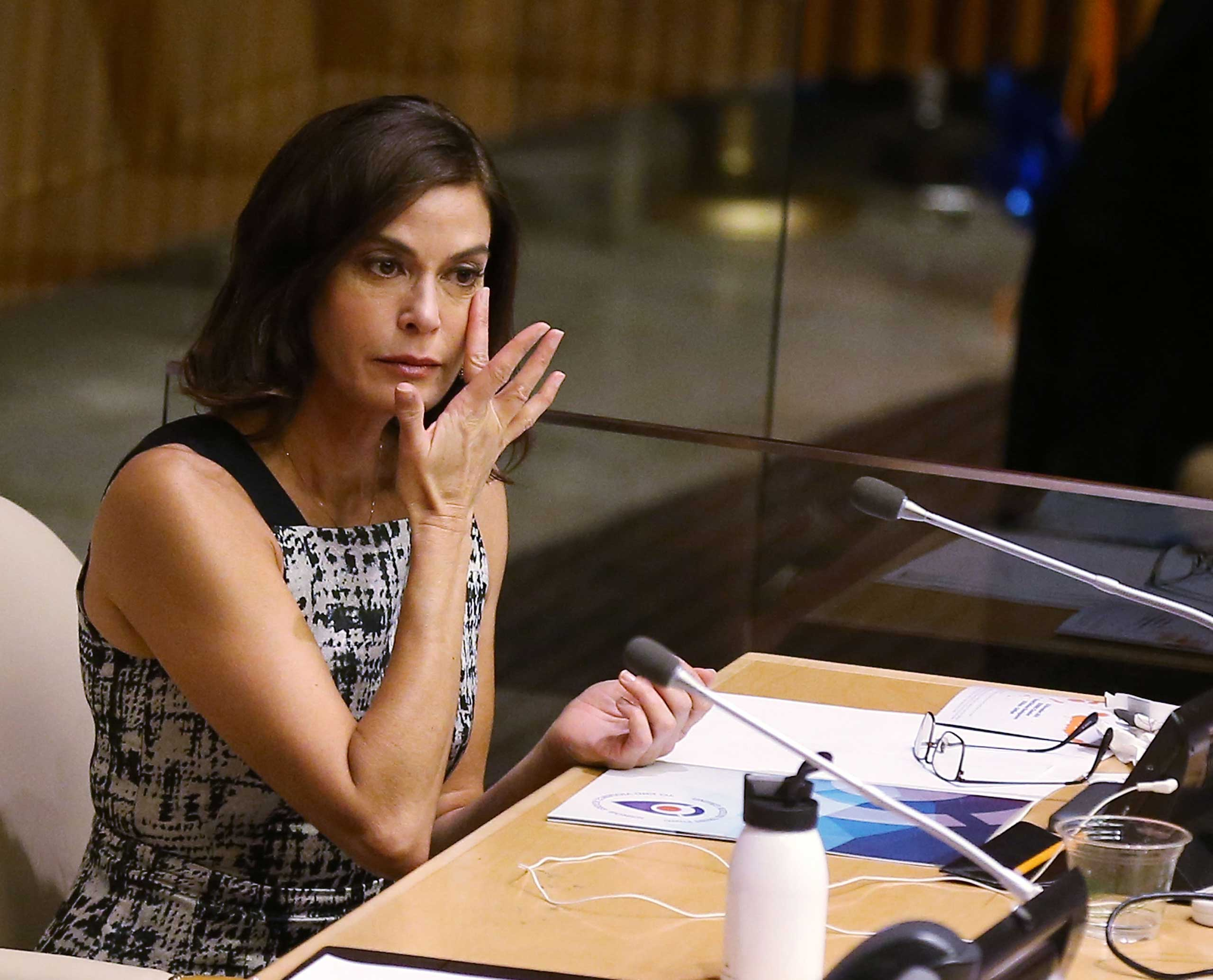 Actress Teri Hatcher wipes away tears after her speech during the United Nations Official Commemoration of the International Day For The Elimination Of Violence Against Women on Nov. 25, 2014 in New York.