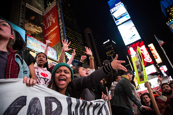 People protest over the Ferguson grand jury decision in Times Square, New York City, on Nov. 25, 2014