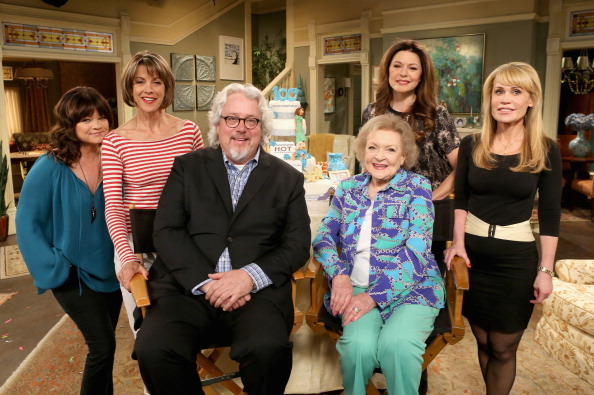 From left, Valerie Bertinelli, Wendie Malick, president of TV Land Larry W. Jones, Betty White, Jane Leeves and show creator Suzanne Martin attend Hot in Cleveland's 100 Episodes Celebration in Studio City, Calif., on May 1, 2014