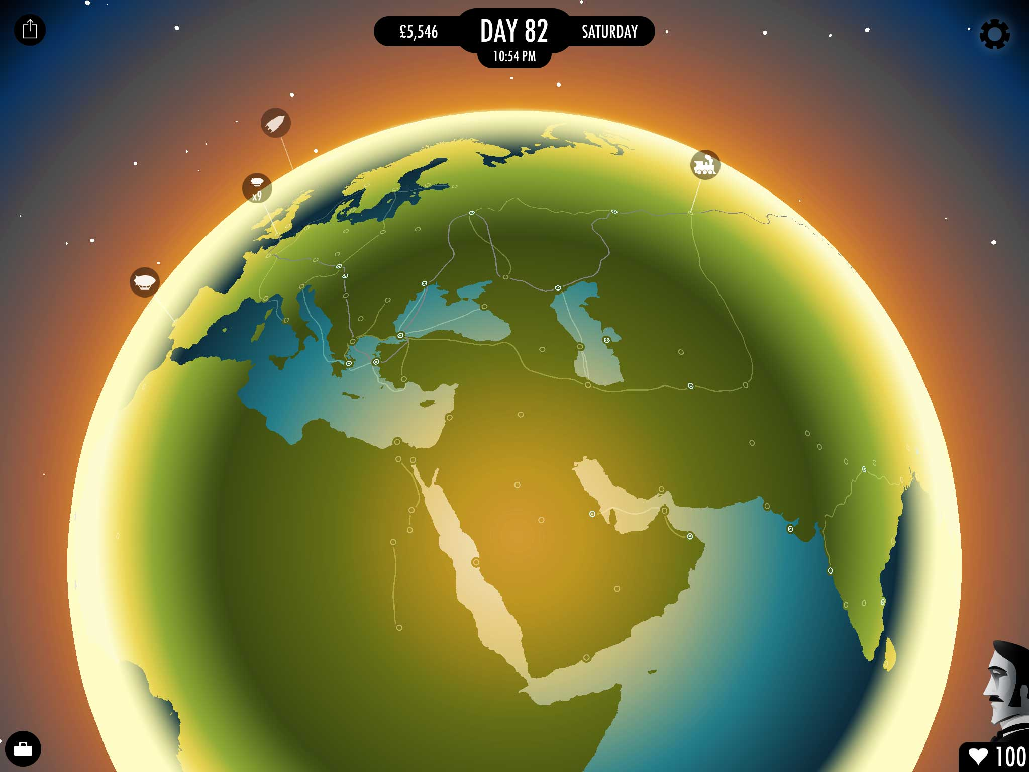 <strong>80 Days</strong>                                                                          Inkle's anti-colonialist vamp on Jules Verne's famous novel uses crisp art deco imagery inspired by travel posters to unfurl <i>80 Days</i>' tale of intrepid globetrotters Monsieur Fogg and his valet Passepartout.