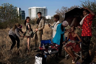 Fashion designer Blacktrash on a location shoot with his models on Aug. 28, 2012 in Gaborone, Botswana.