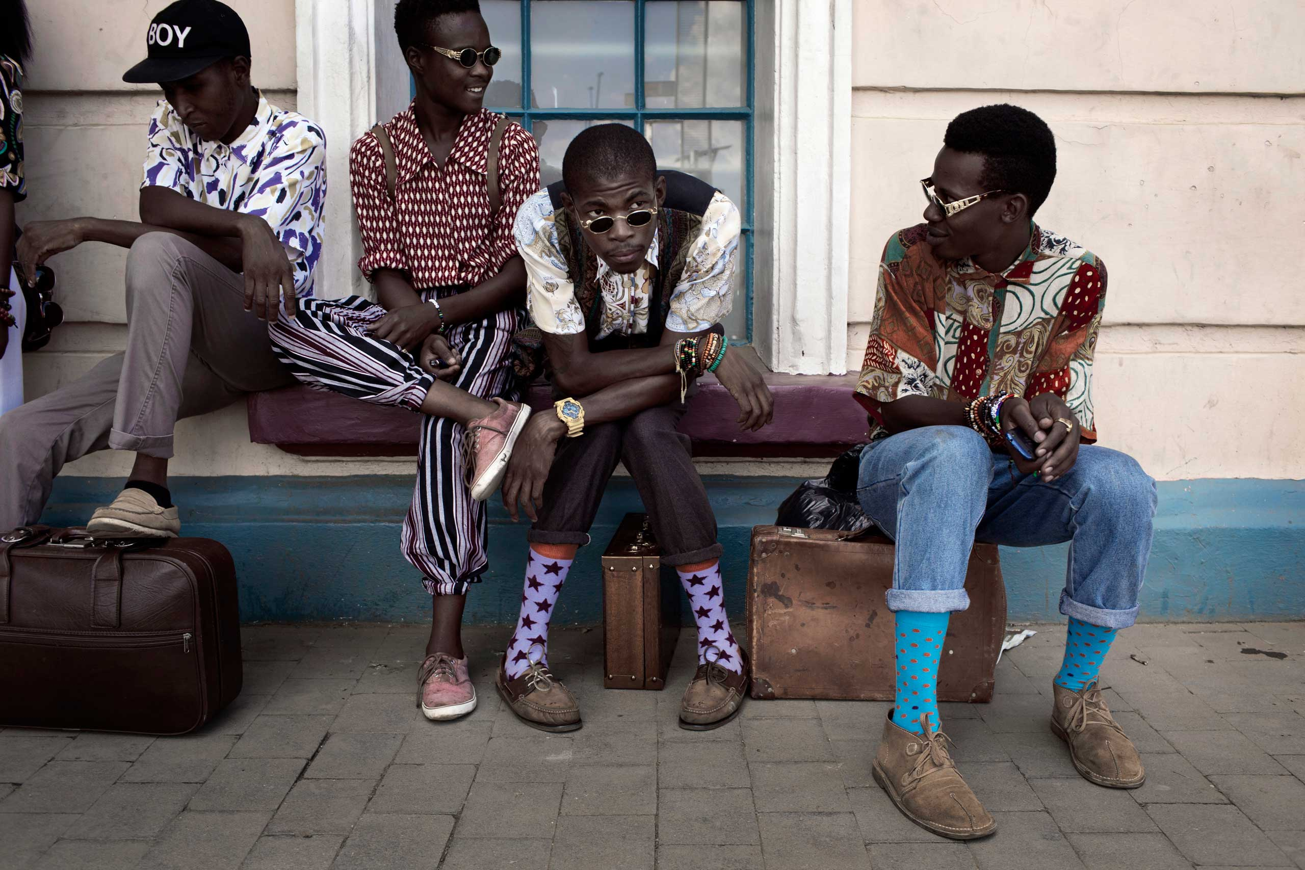 Fashionistas wait for fashion shows at Fitzgerald Square in New Town for Mercedes Benz fashion week on March 9, 2013 held in Johannesburg, South Africa.