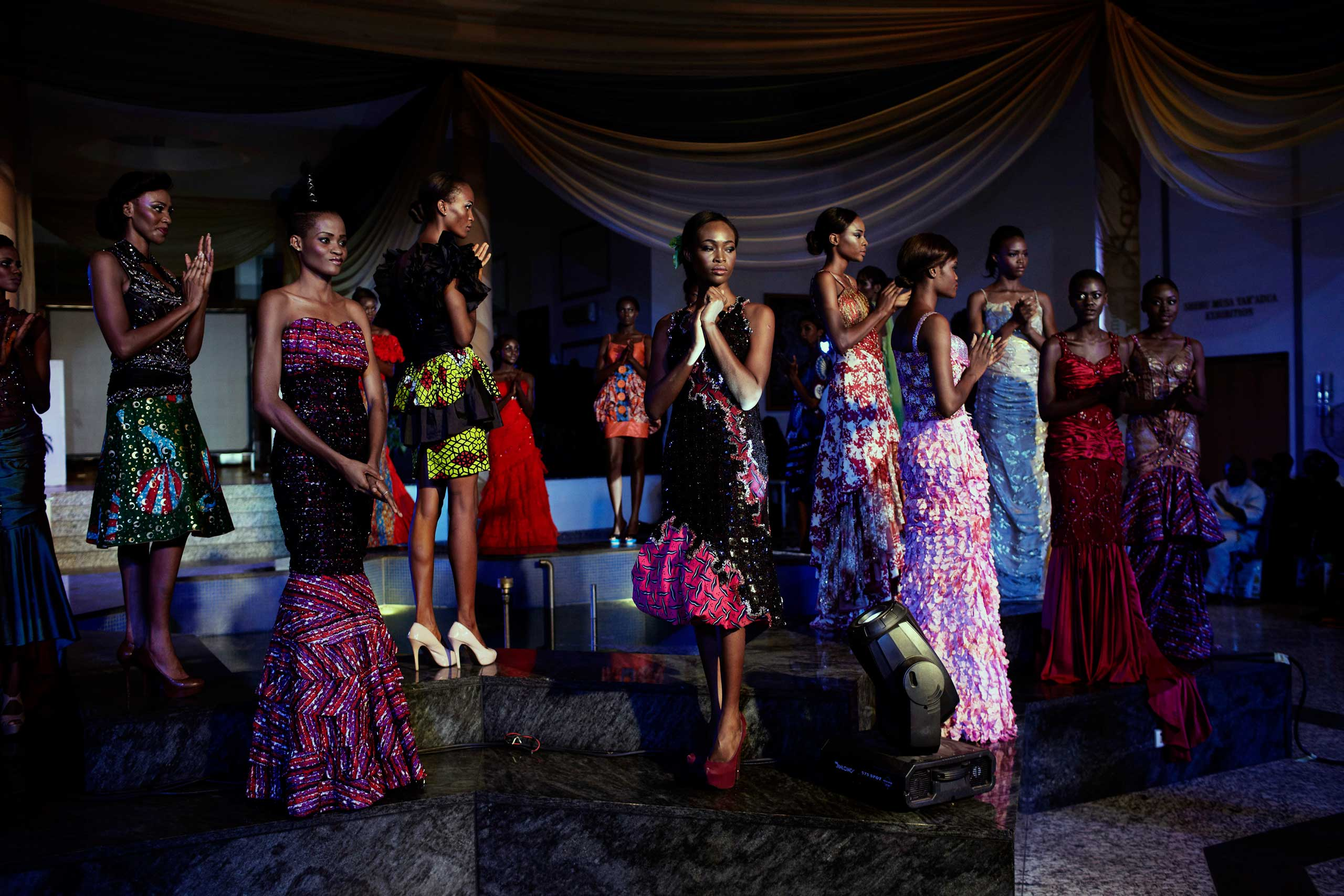 Models walk during a fashion show launching ECOWAS fashion week on May 26, 2013 in Abuja, Nigeria.