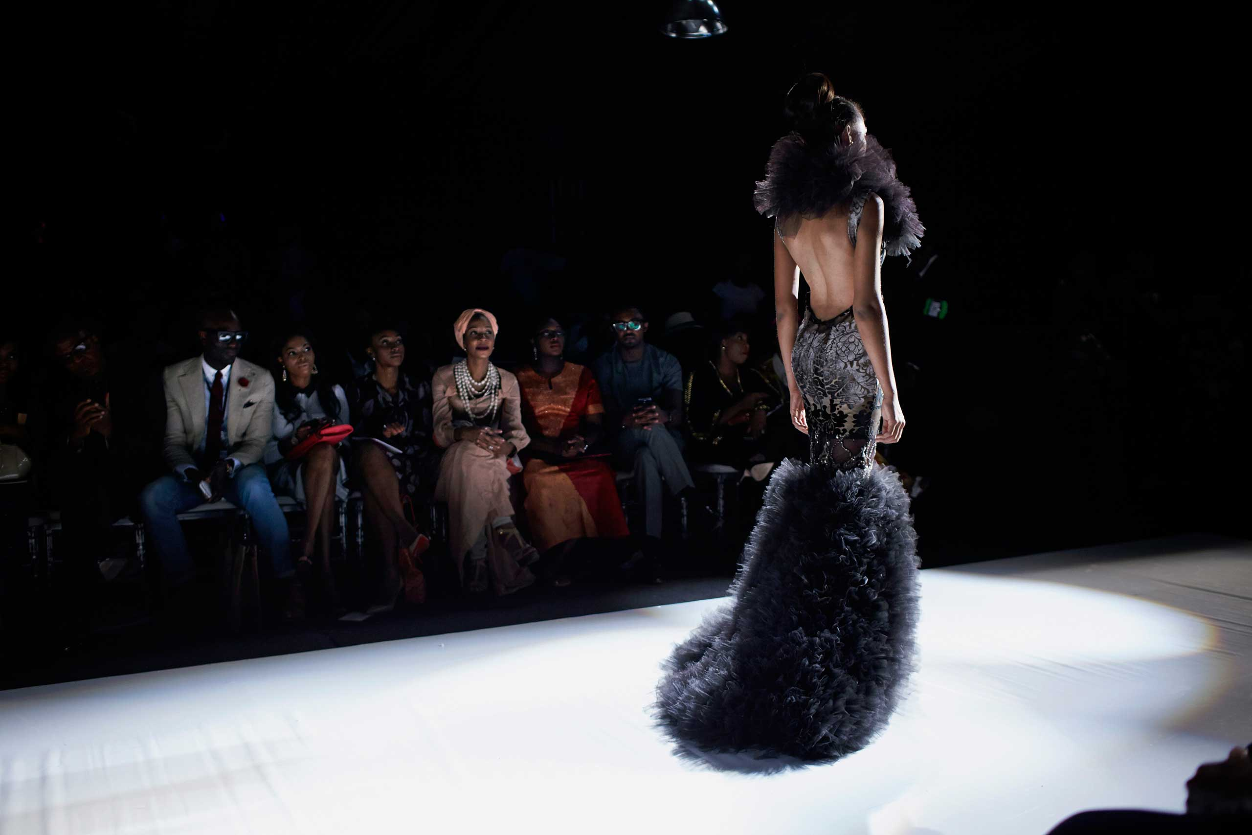 Models walk the catwalk during a show at Lagos Fashion Design Week on Oct. 26, 2013 in Lagos, Nigeria.