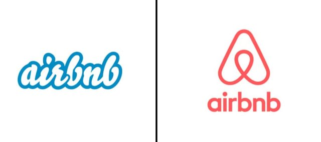 Left: Previous airbnb logo; Right: Updated logo as of July, 2014.