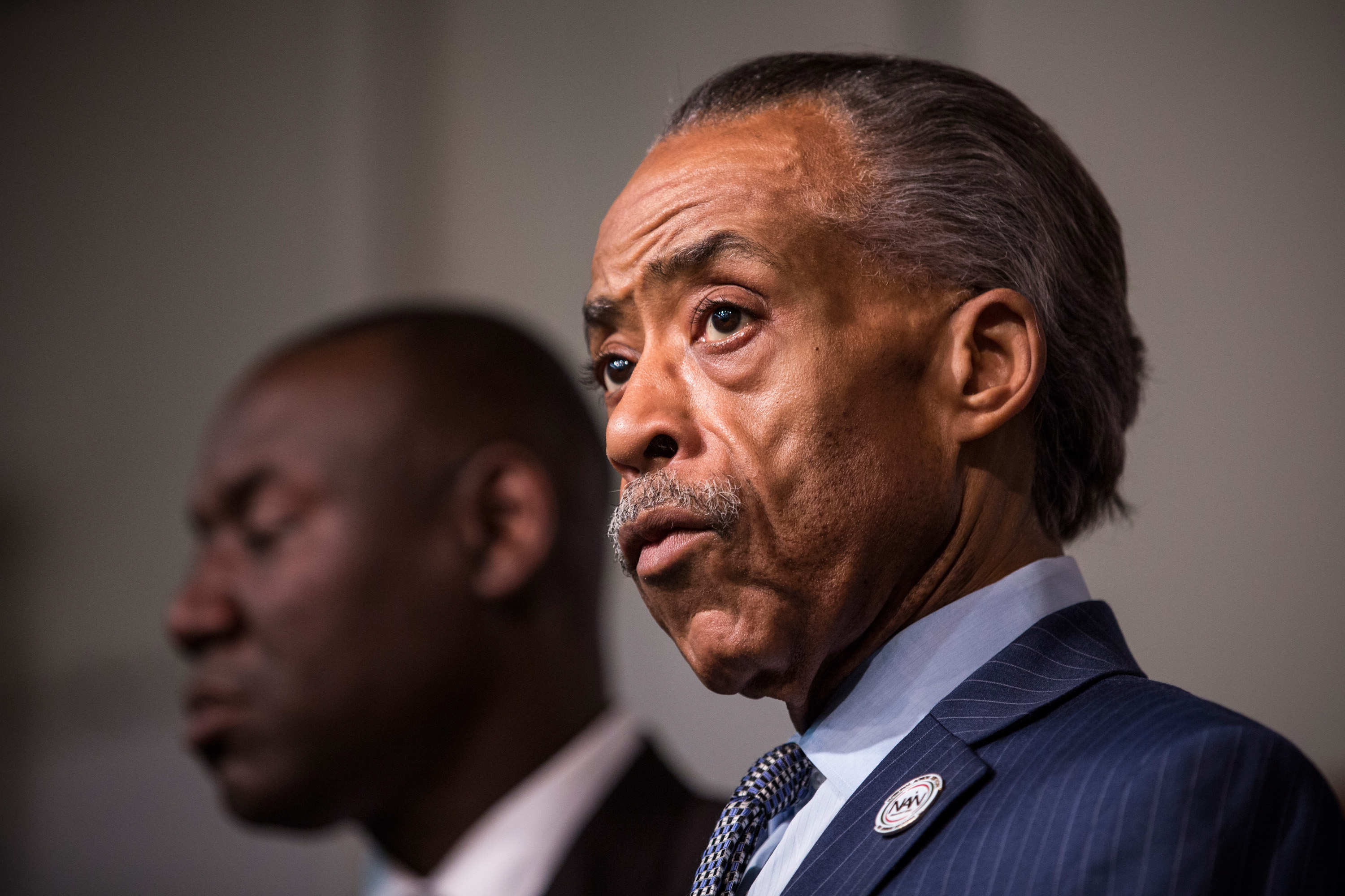 Reverand Al Sharpton speaks at a press conference on the eve of Thanksgiving to pray and address the events of the last few days regarding the grand jury verdict of police officer Darren Wilson on Nov. 26, 2014 in New York.