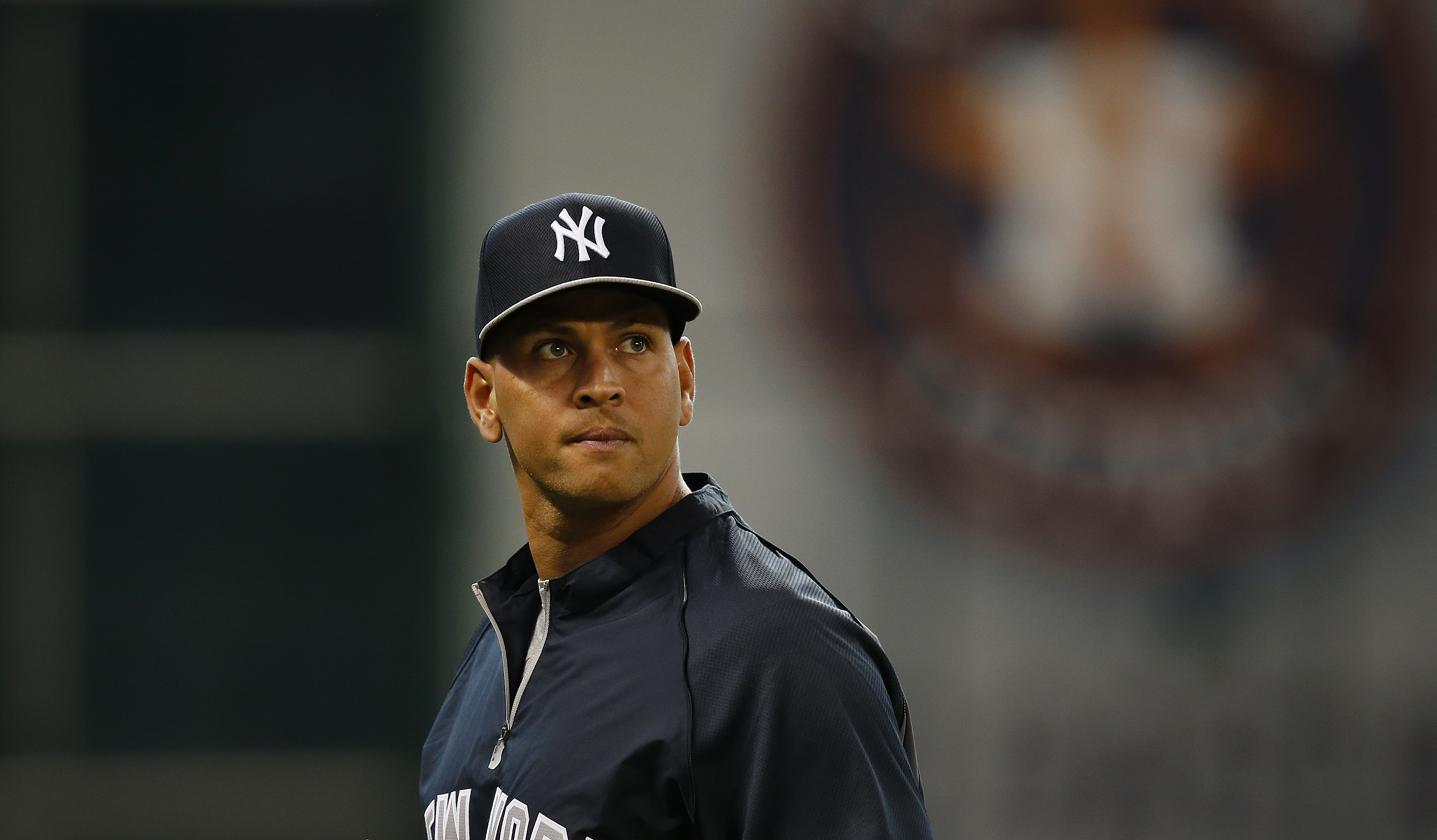 New York Yankees third baseman Alex Rodriguez (13) looks on prior to an MLB baseball game against the Houston Astros at Minute Maid Park on Sept. 27, 2013 in Houston.