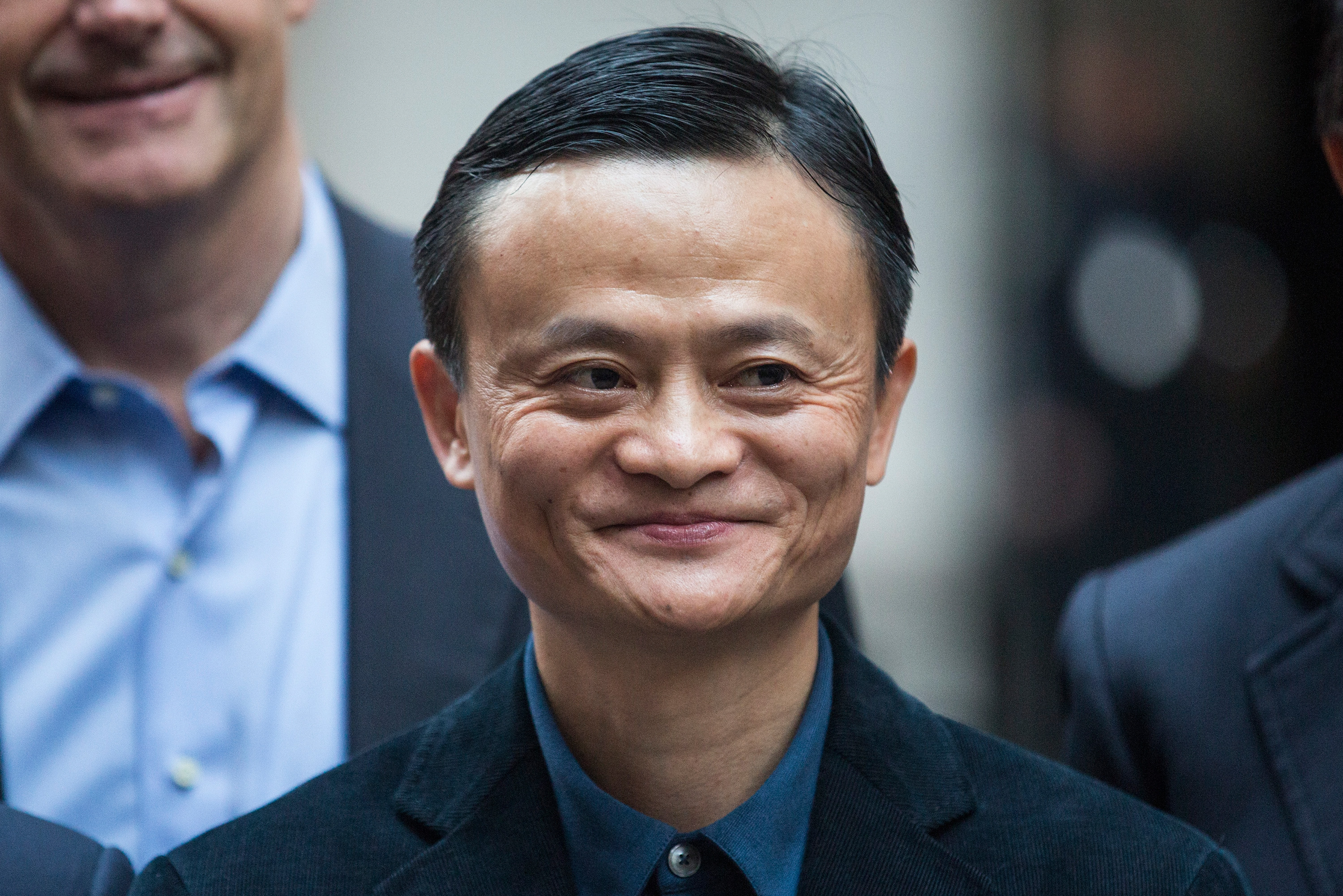 Executive Chairman of Alibaba Group Jack Ma poses for a photo outside the New York Stock Exchange prior to the company's initial price offering (IPO) on Sept. 19, 2014 in New York City.