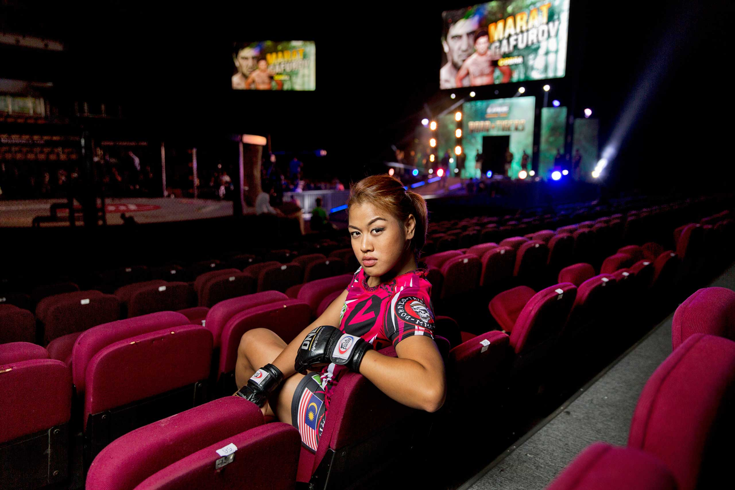 Mixed Martial Artist Ann Osman poses for a portrait before competing in the One Fighting Championship event on Oct. 16, 2014 in Kuala Lumpur, Malaysia.
