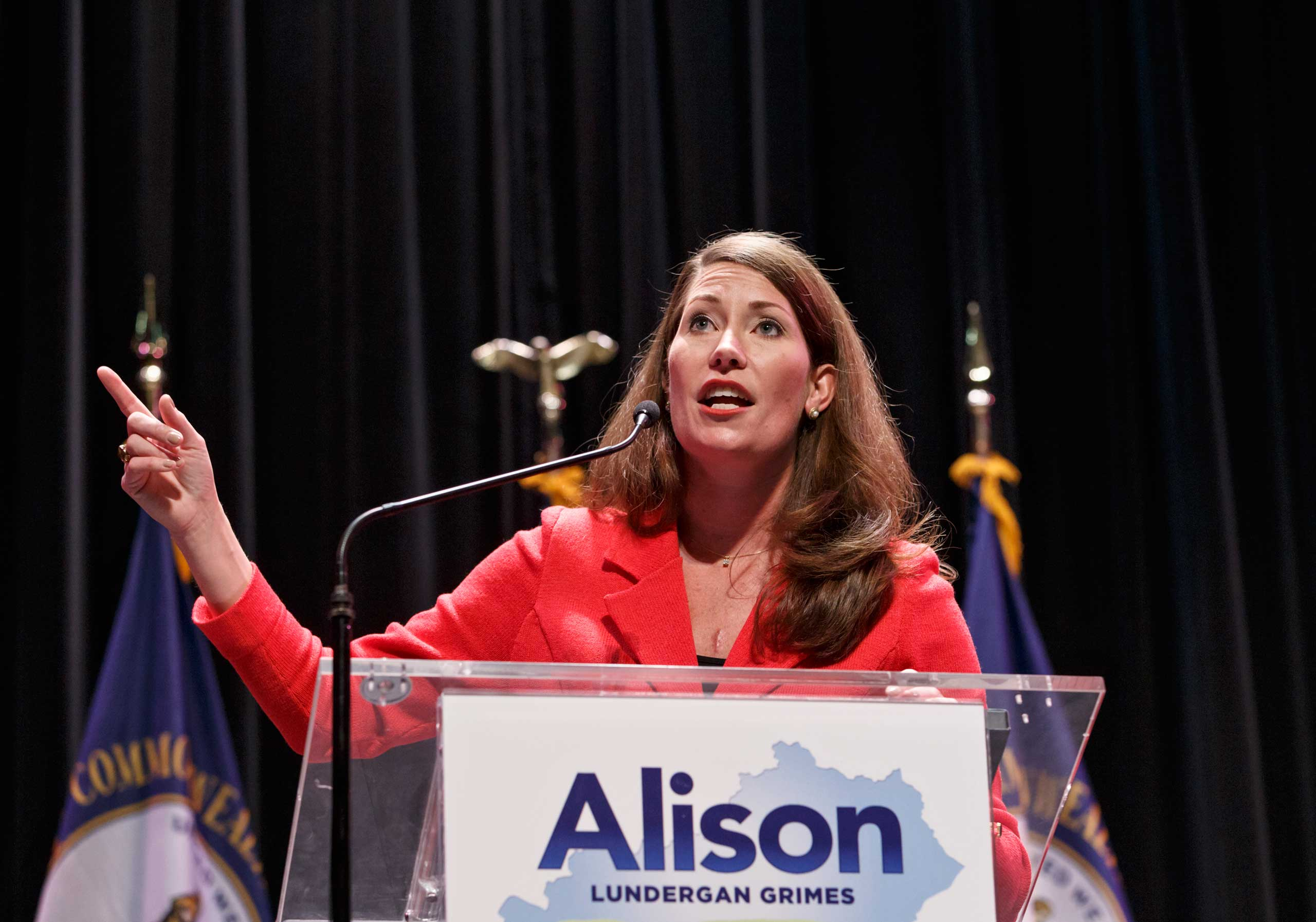 Democratic candidate Alison Lundergan Grimes at a campaign rally in Lexington, Ky., at Transylvania University, Nov. 1, 2014.