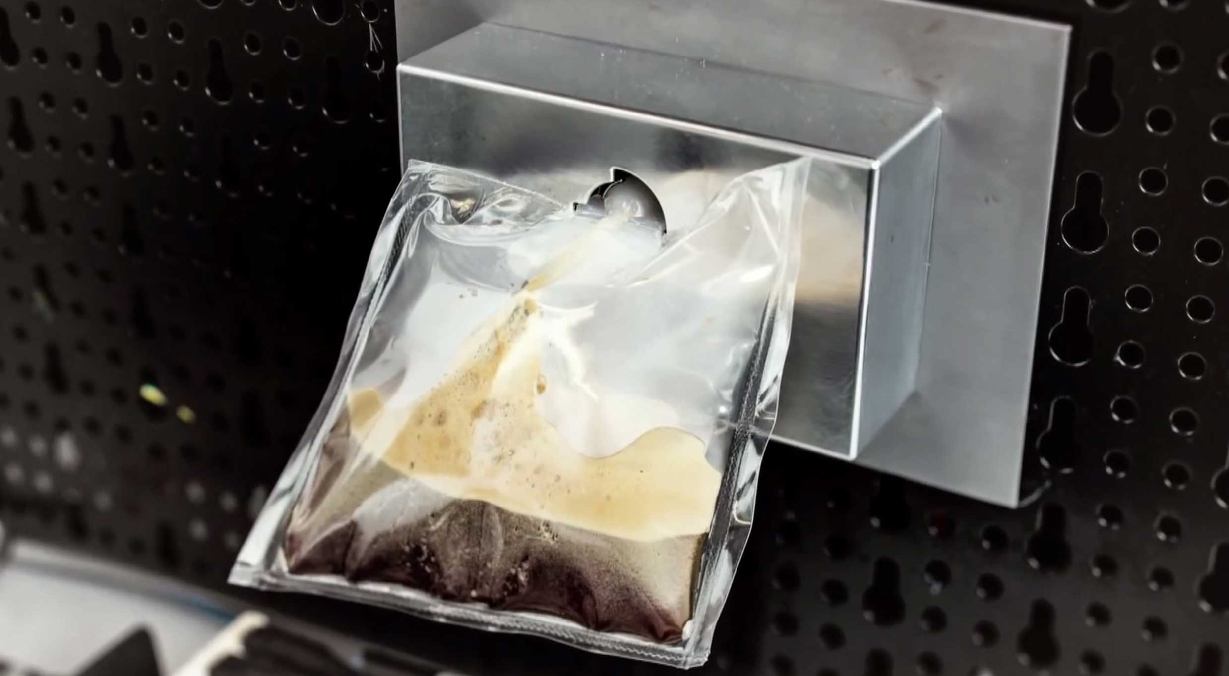 A prototype of Lavazza's and Argotec's  ISSpresso  machine. The final version of the coffee machine will be the first real Italian espresso machine on The International Space Station, and will coincide with a six-month mission by Italy's first Italian female astronaut, Samantha Cristoforetti.