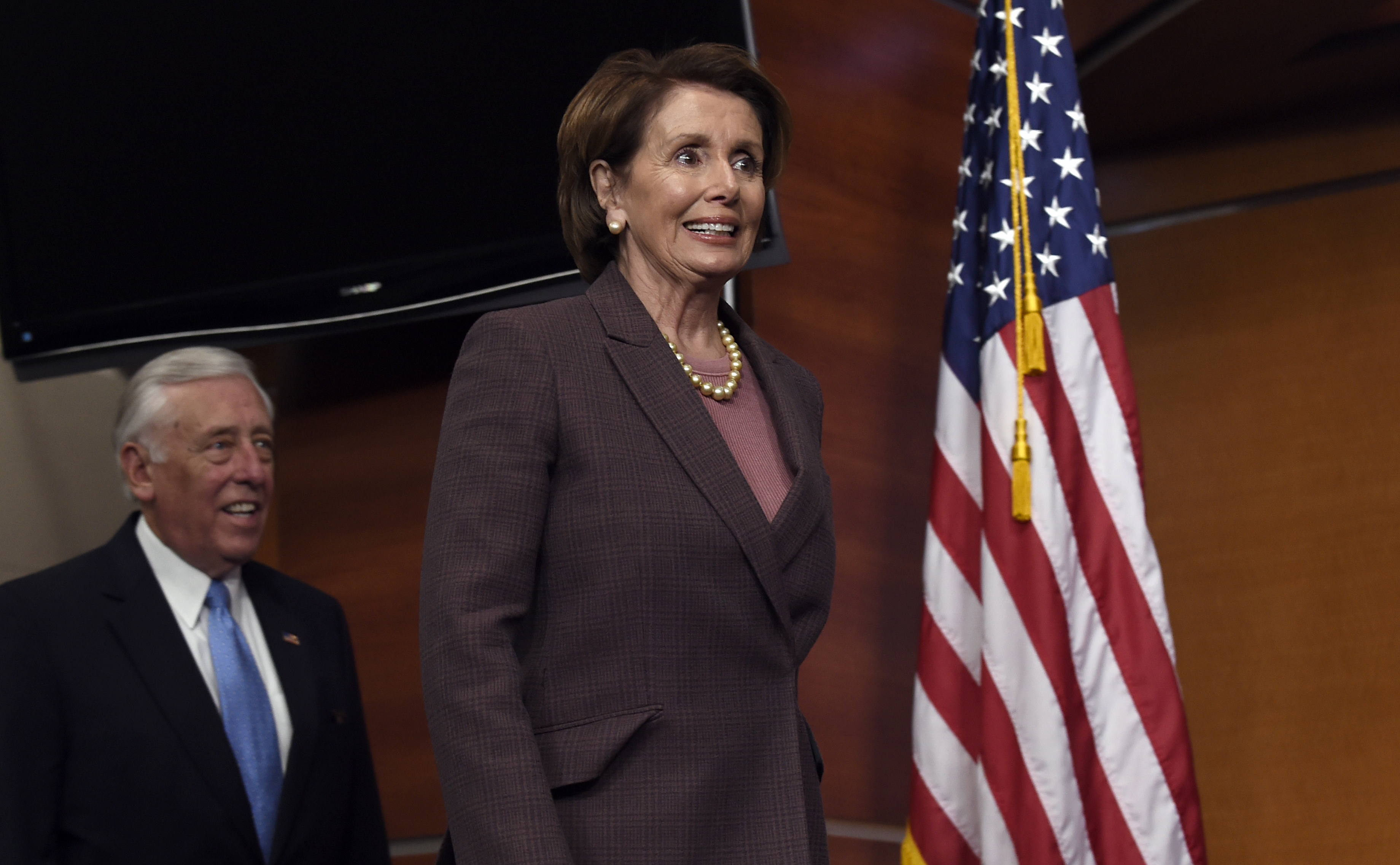 House Minority Leader Nancy Pelosi of Calif., followed by House Minority Whip Steny Hoyer of Md., arrives for a news conference on Capitol Hill in Washington, Tuesday, Nov. 18, 2014, to introduce the Democratic leadership team for the 114th Congress. )