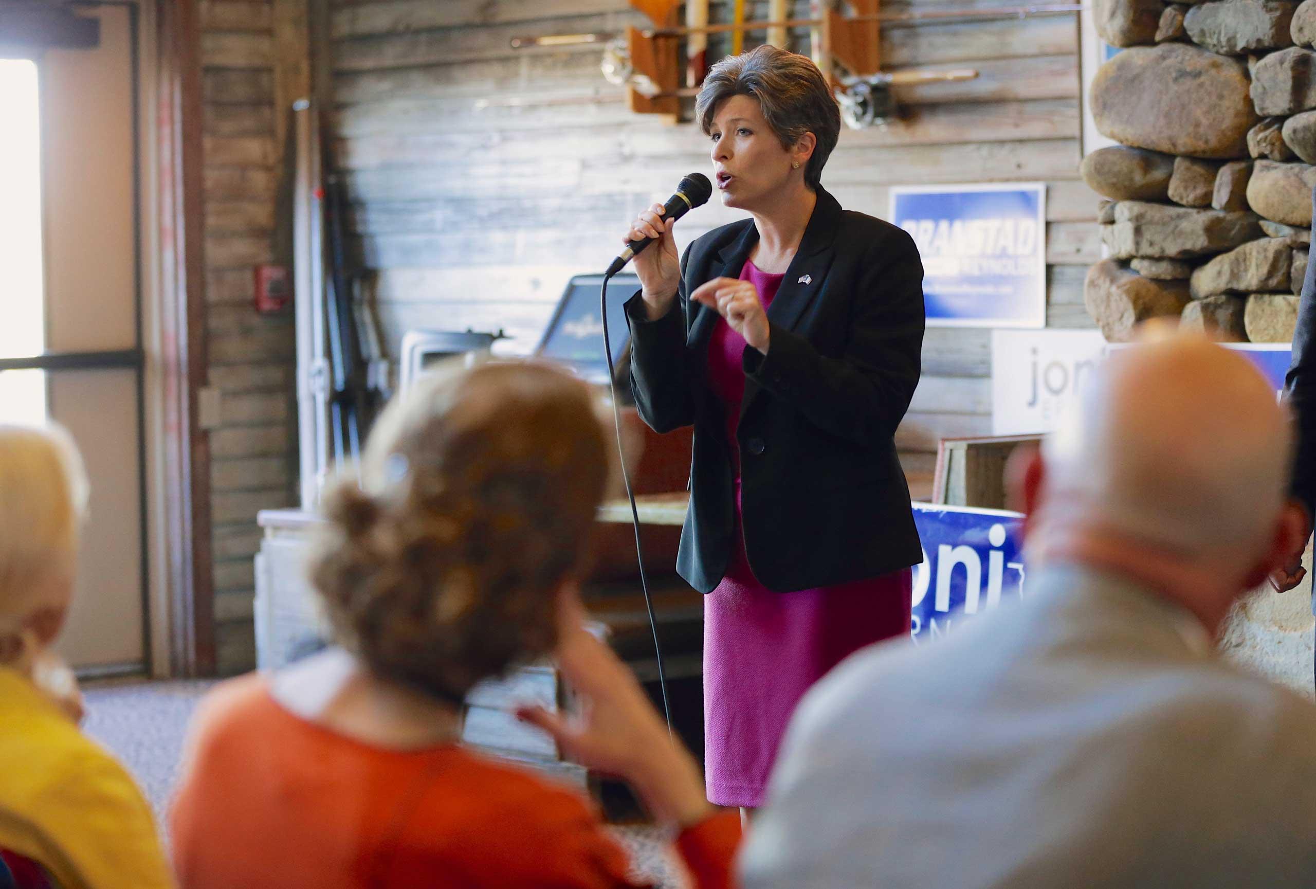 Republican Senate candidate Joni Ernst speaks during a campaign stop in Council Bluffs, Iowa, Oct. 31, 2014.
