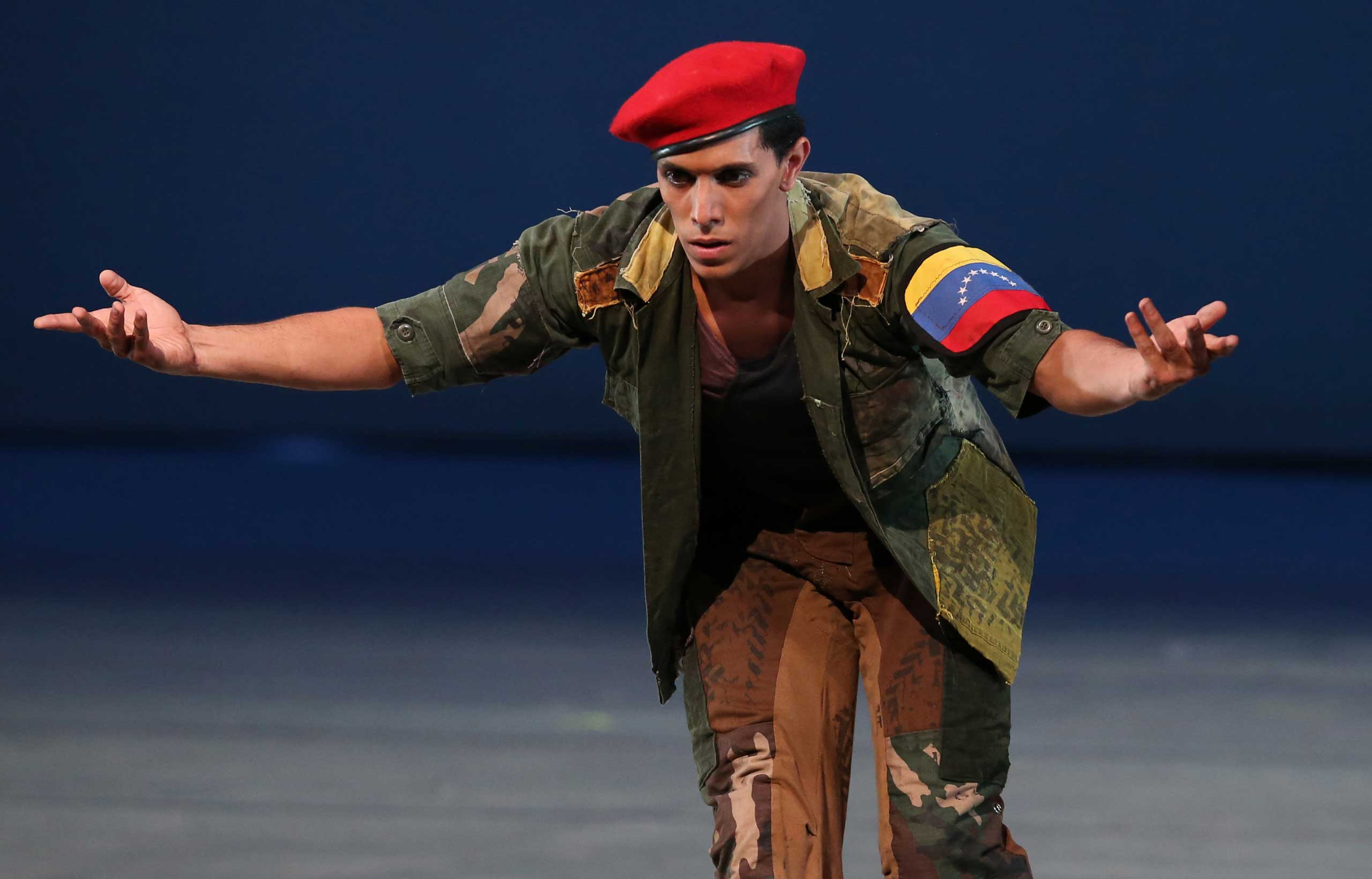 John Lobo, 29, performing as Venezuela's late president Hugo Chavez in the star role of the  Ballet of the Spider-Seller to Liberator , at the Teresa Carreno Theater in Caracas, Nov. 27, 2014.