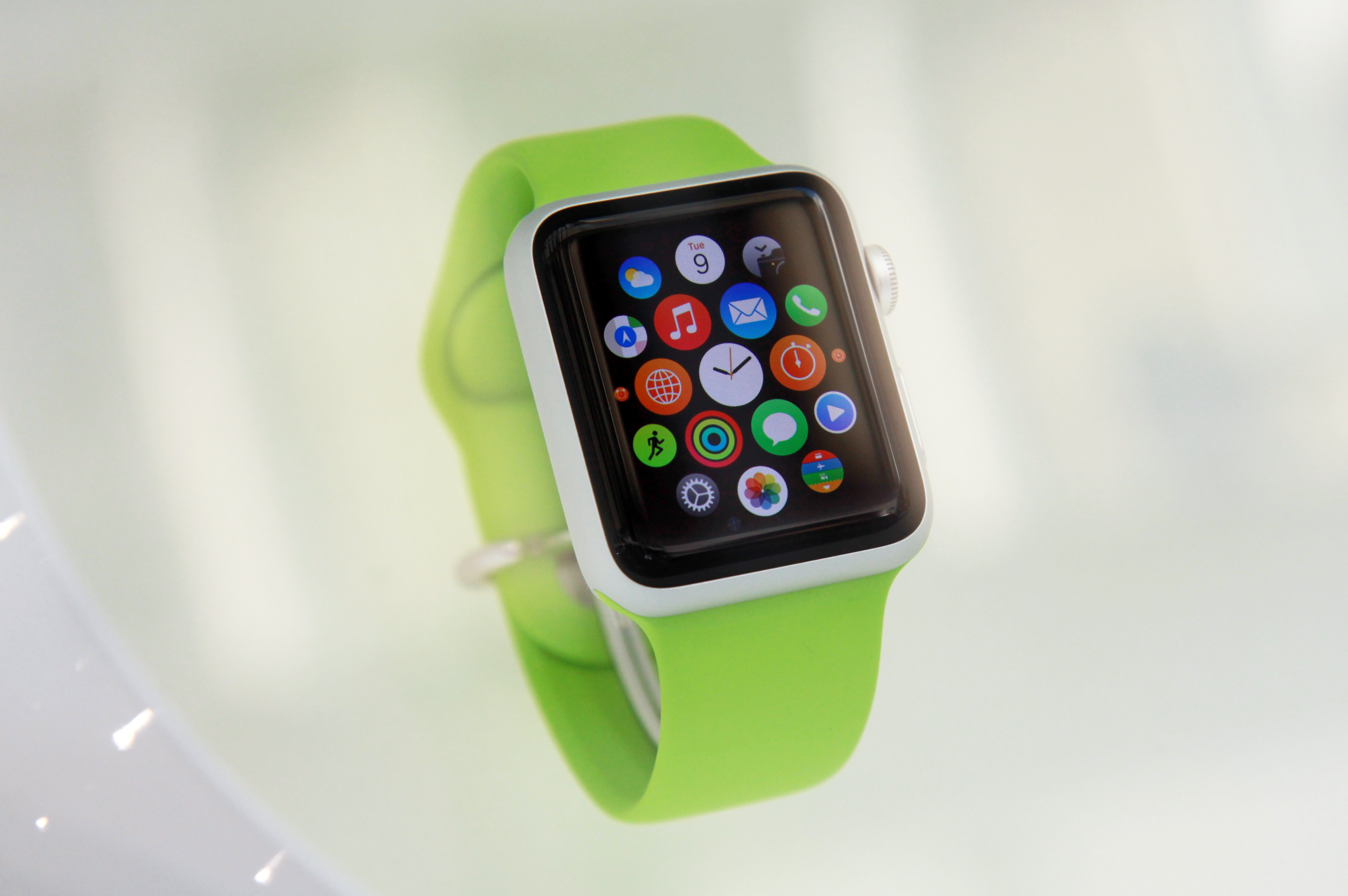 View of the Apple watch displayed in a shop on September 30, 2014.