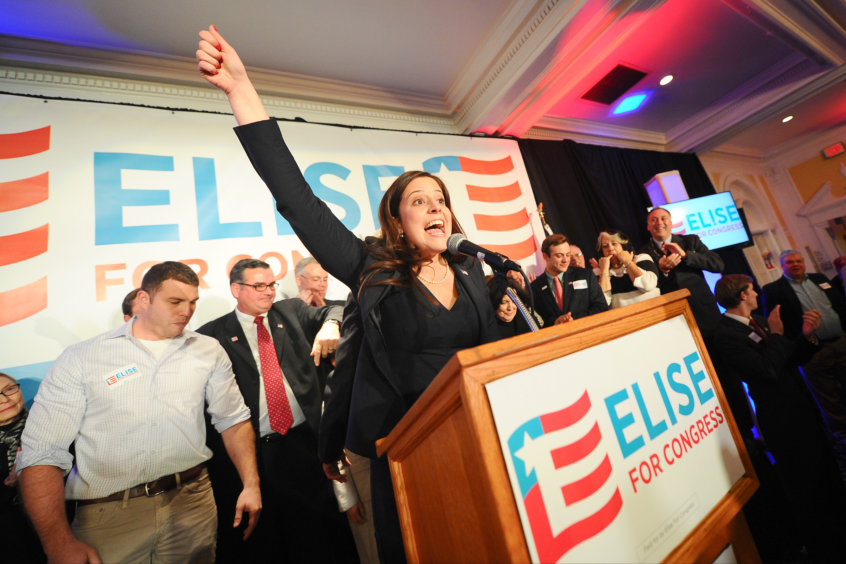 Elise Stefanik celebrates her win in the 21st Congressional district on election night at the Queensbury Hotel in Glens Falls, N.Y., on Tuesday, Nov. 4, 2014.