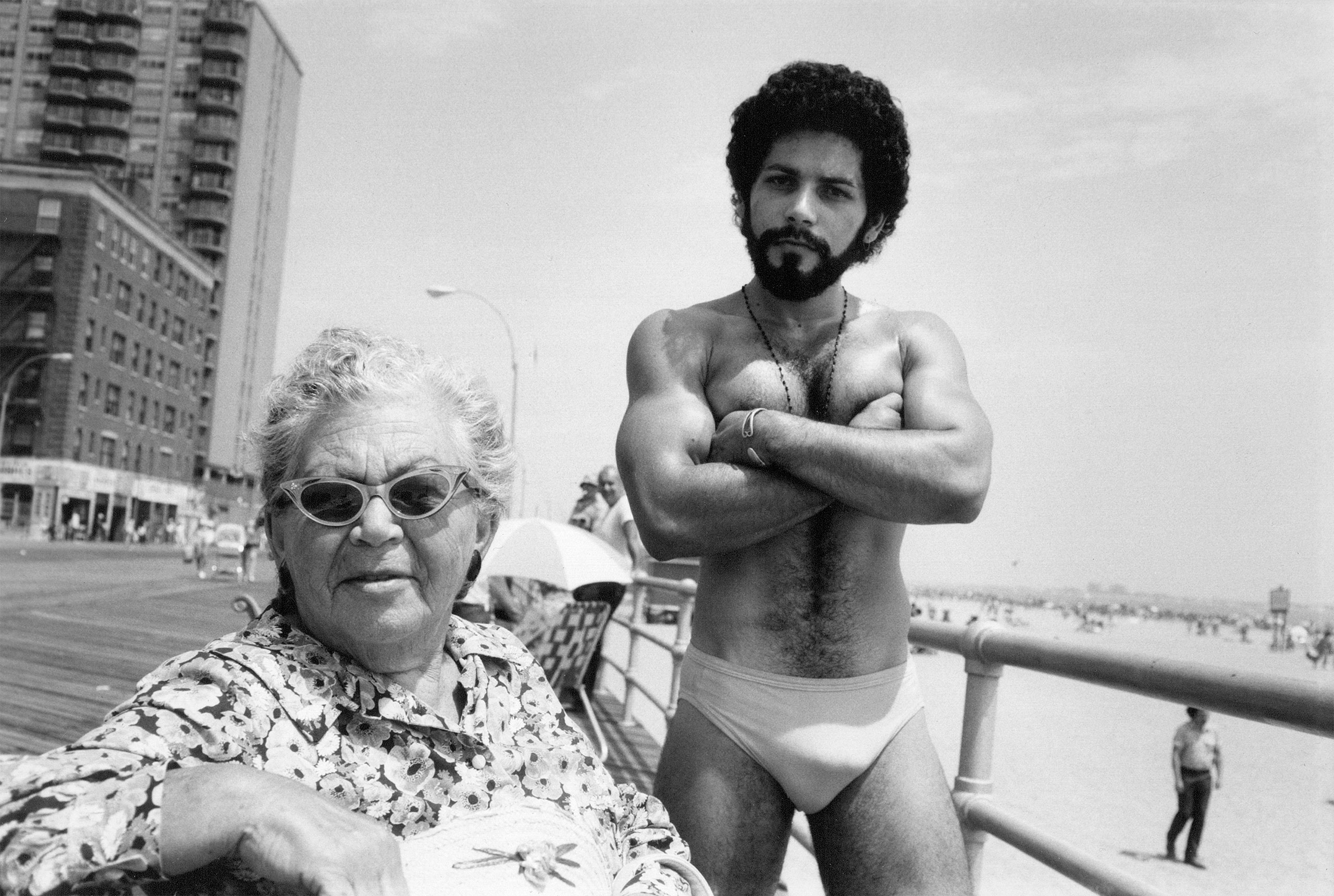 Angel and Woman on Boardwalk, Brighton Beach, 1976