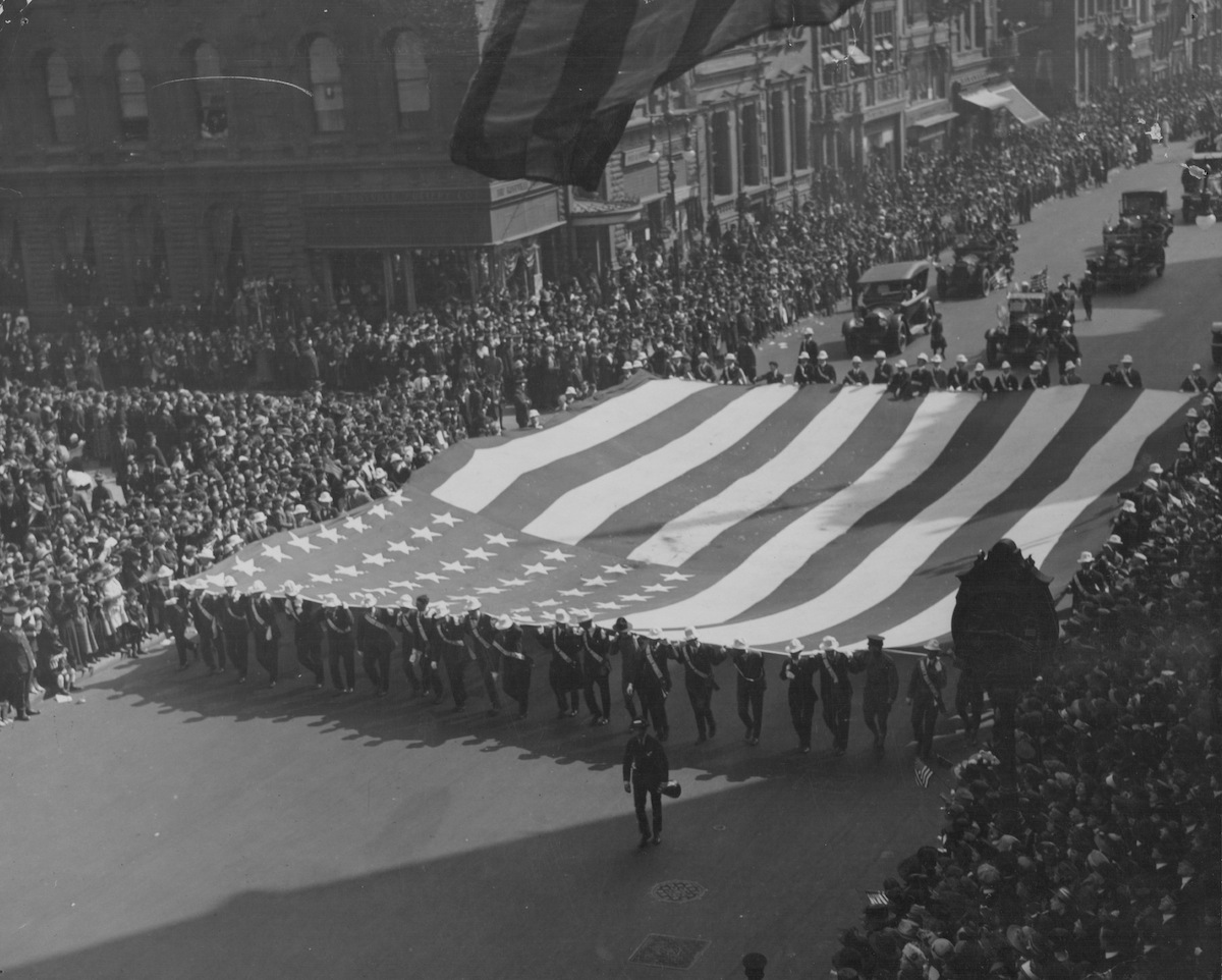 A military parade in celebration of Armistice day following World War One, New York, 1918.
