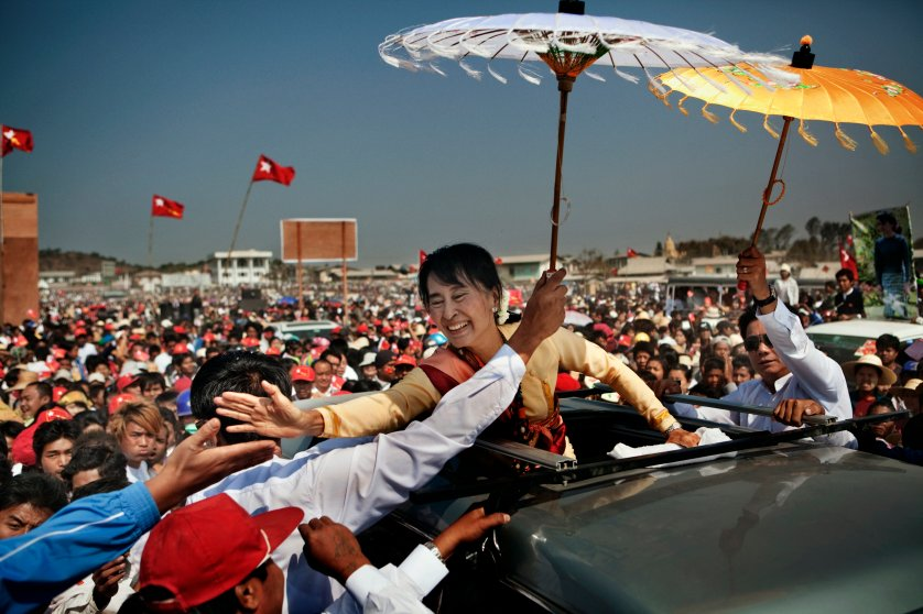 National League for Democracy (NLD) party leader Aung San Suu Kyi campaigns in Aungban, Shan State, Burma, Mar. 1, 2012.