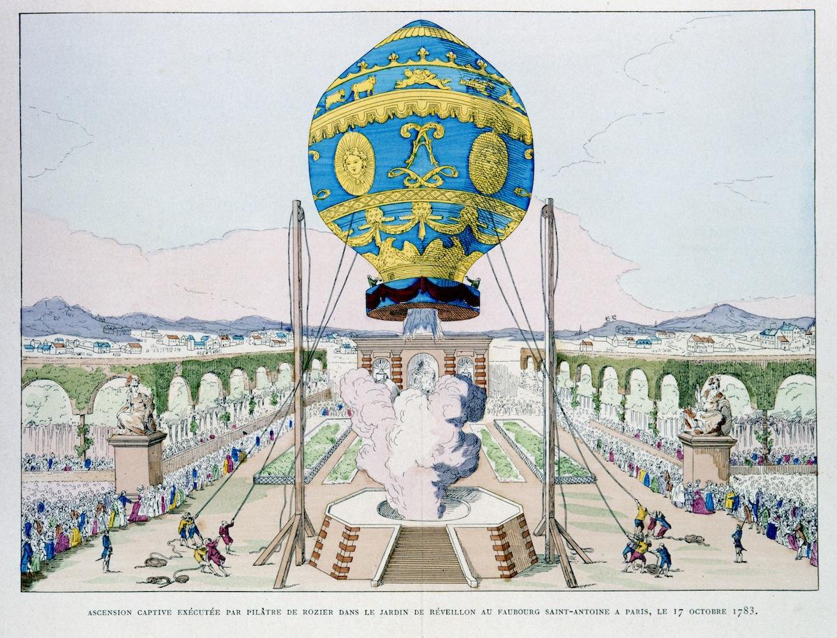 Illustration of a Jean-Francois Pilatre de Rozier flight from 'Histoire des Ballons' by Gaston Tissandier