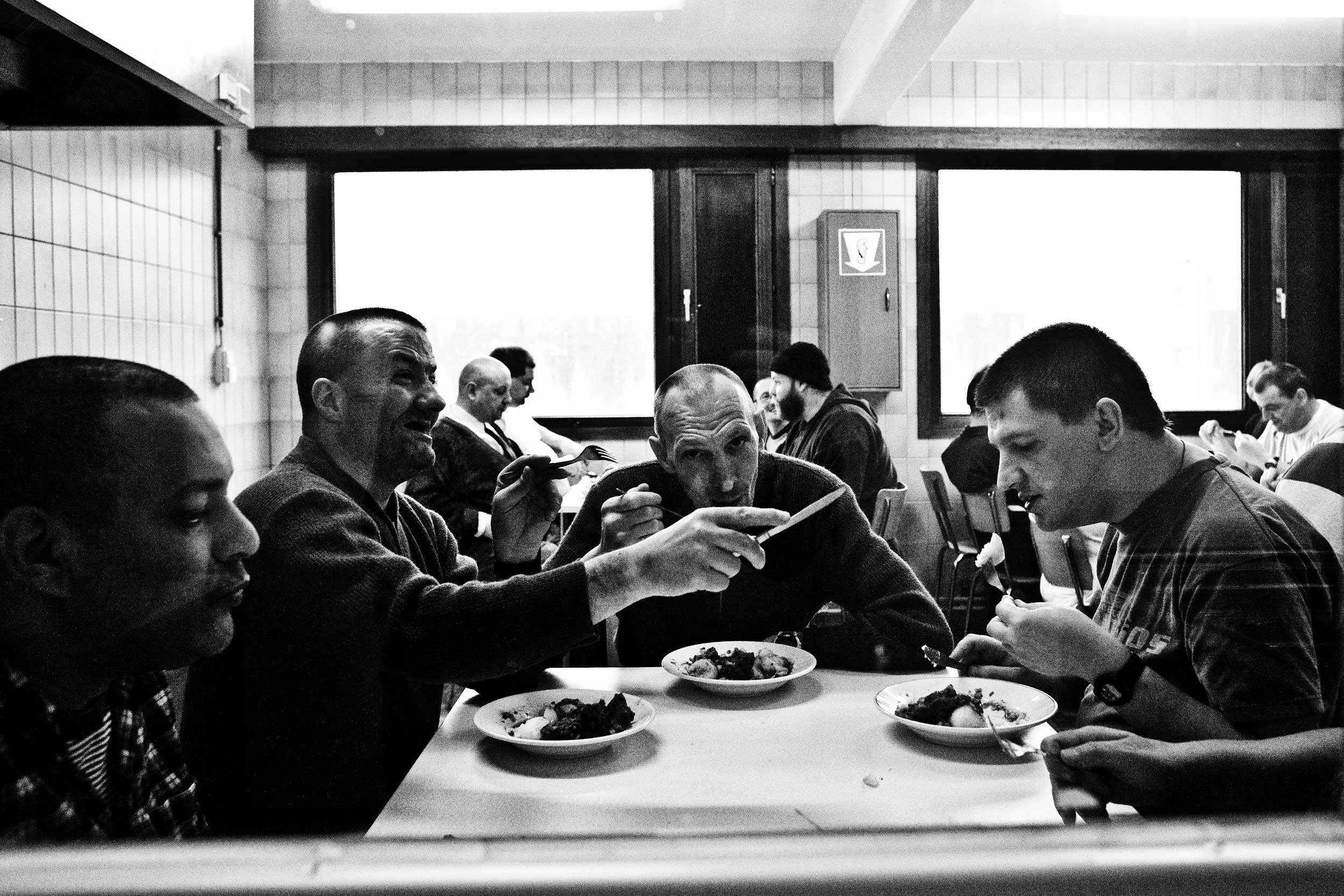 Canteen, inside the prison for mentally disabled prisoners in Paifve, Belgium. March 2011.